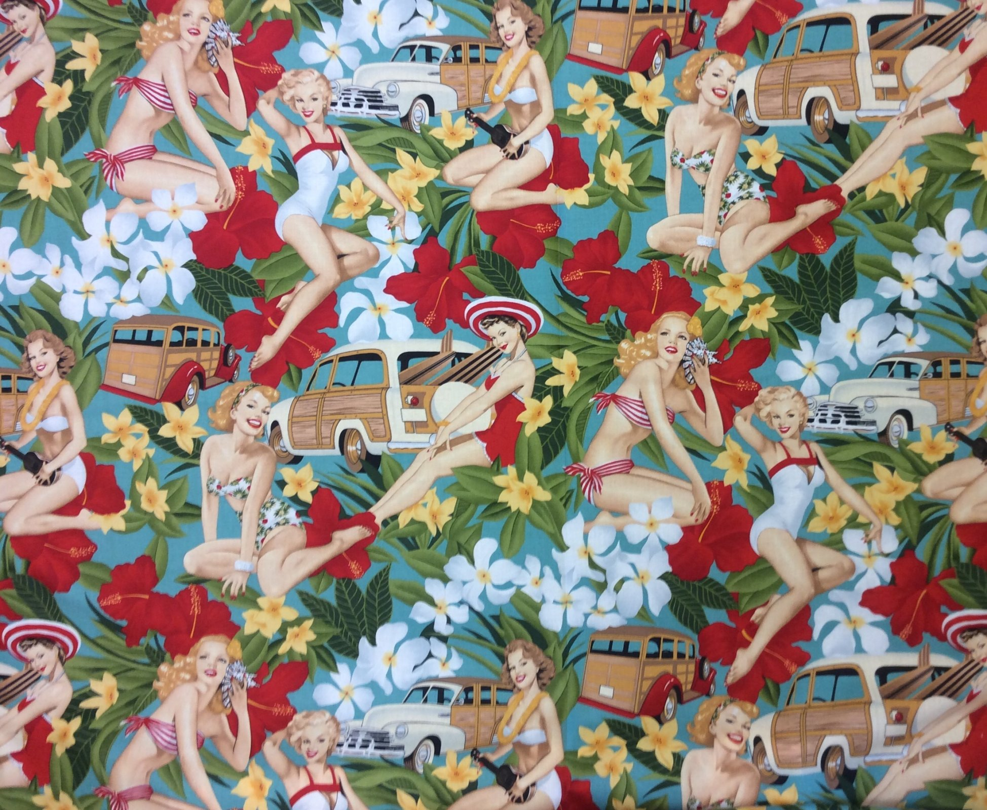 Sexy Pin Up Girls Aloha Girls Woody Wagon Retro Hawaii Hula Luau Tiki Bar Alexander Henry Cotton Quilt Fabric AH233