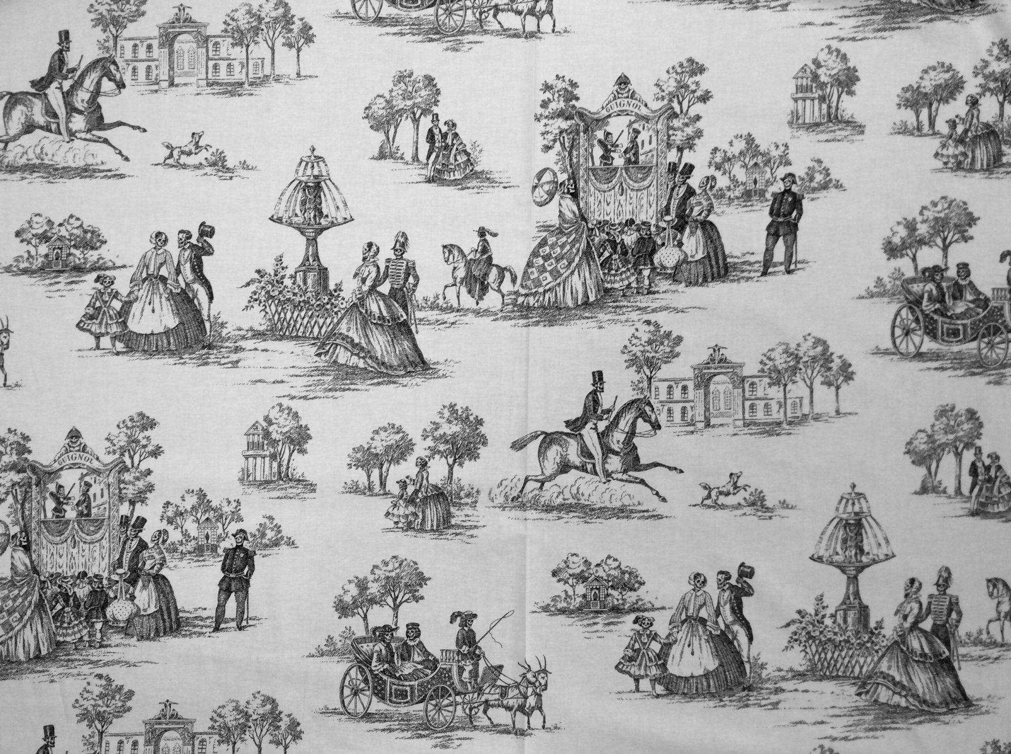 Luxembourg Garden Toile Skeleton Muertos Pastoral Print Alexander Henry Cotton Quilt Fabric AH238