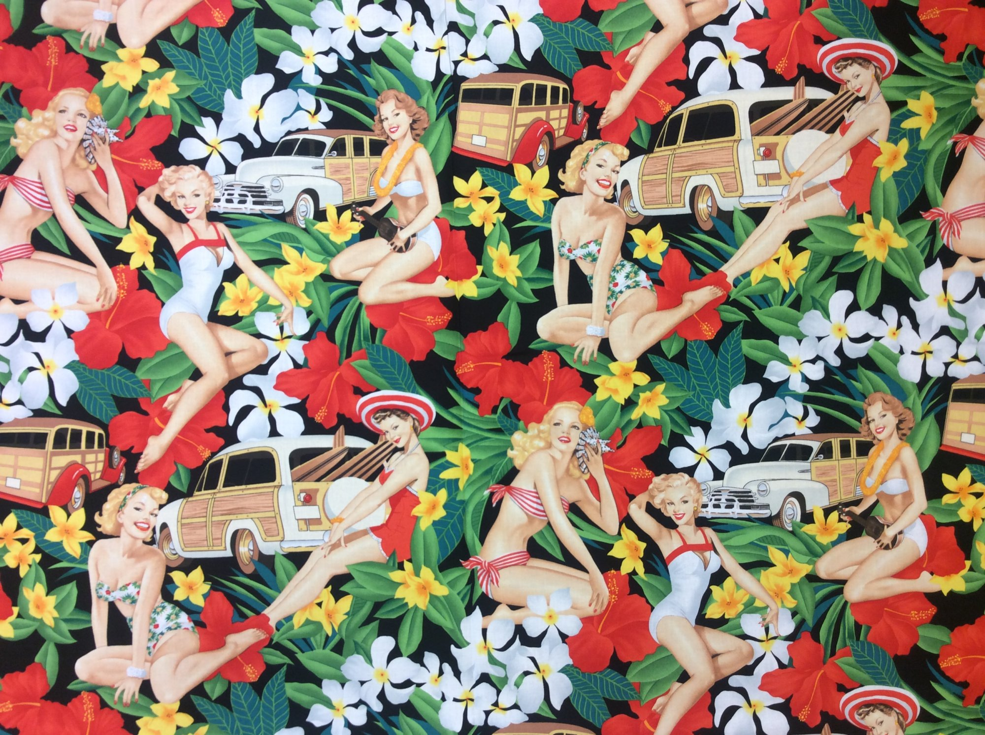 Sexy Pin Up Girls Aloha Girls Woody Wagon Retro Hawaii Hula Luau Tiki Bar Alexander Henry Cotton Quilt Fabric AH234