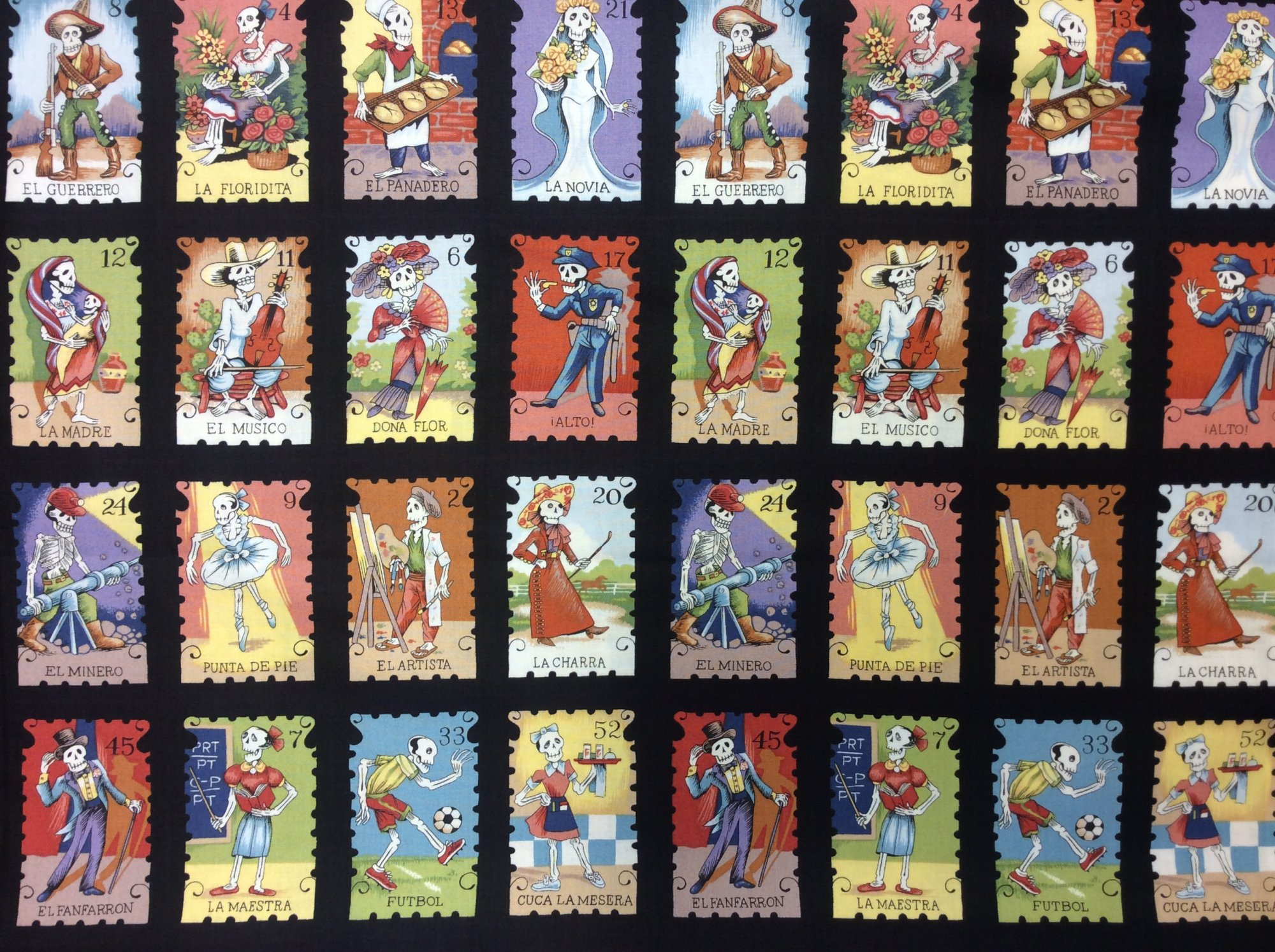 Cartas Marcadas BTY Mexico Lotteria Alexander Henry Lottery Cards Dia de los Muertos Cotton Quilt Fabric Black Background AH228