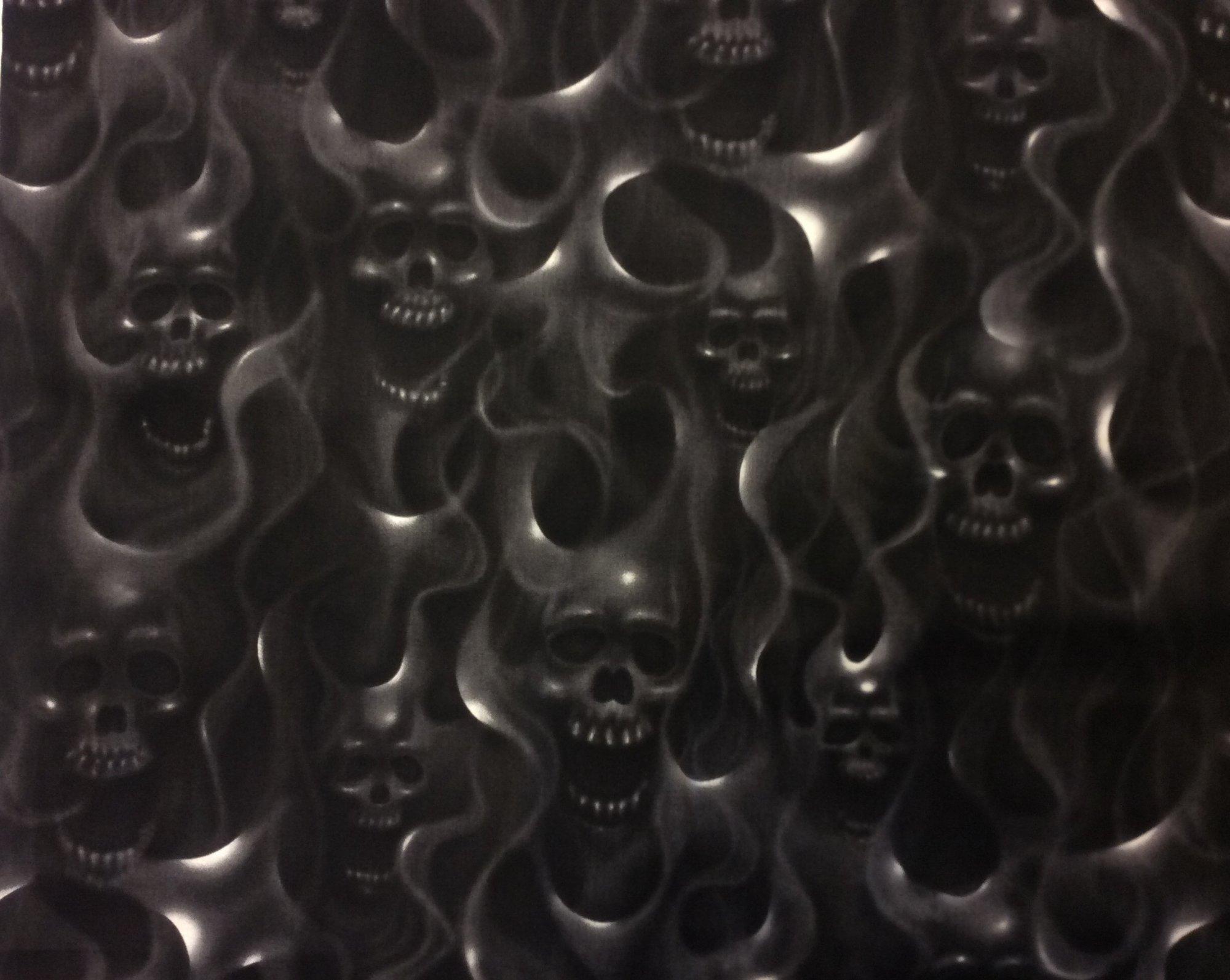 Skull Fire Flame Air Brush Biker Goth Outsider Art Skulls Smoke Charcoal Cotton fabric Quilt Fabric AH231