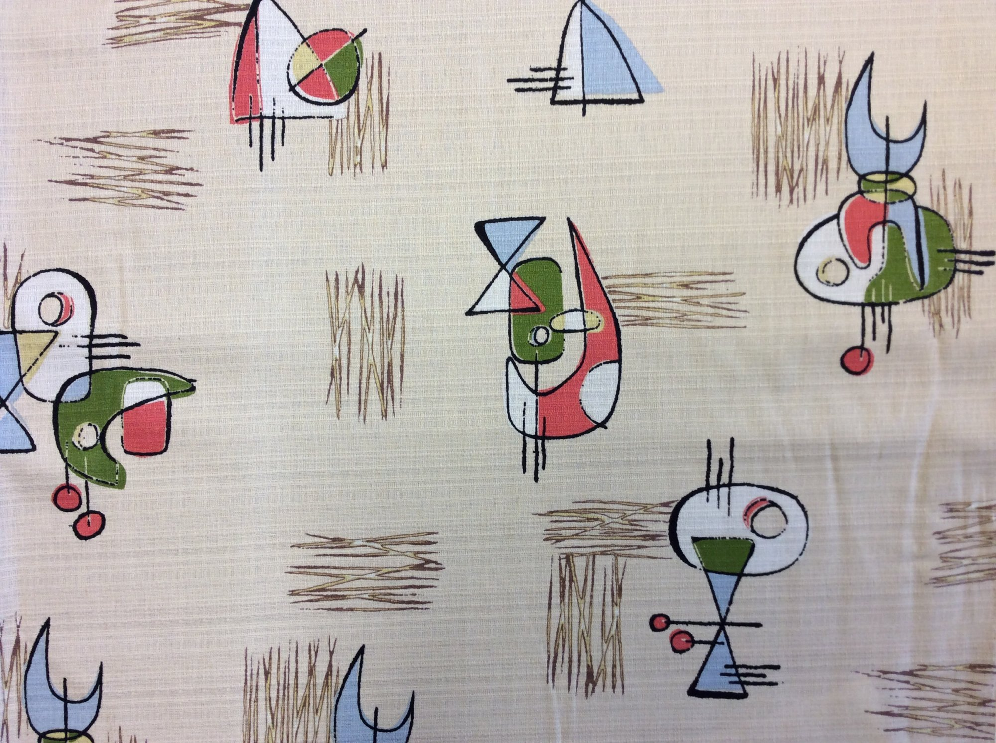 Atomic Retro Barkcloth Boomerang Sputnik MCM Mid Century Modern Slubby Texture Home Dec Cotton Fabric NT40