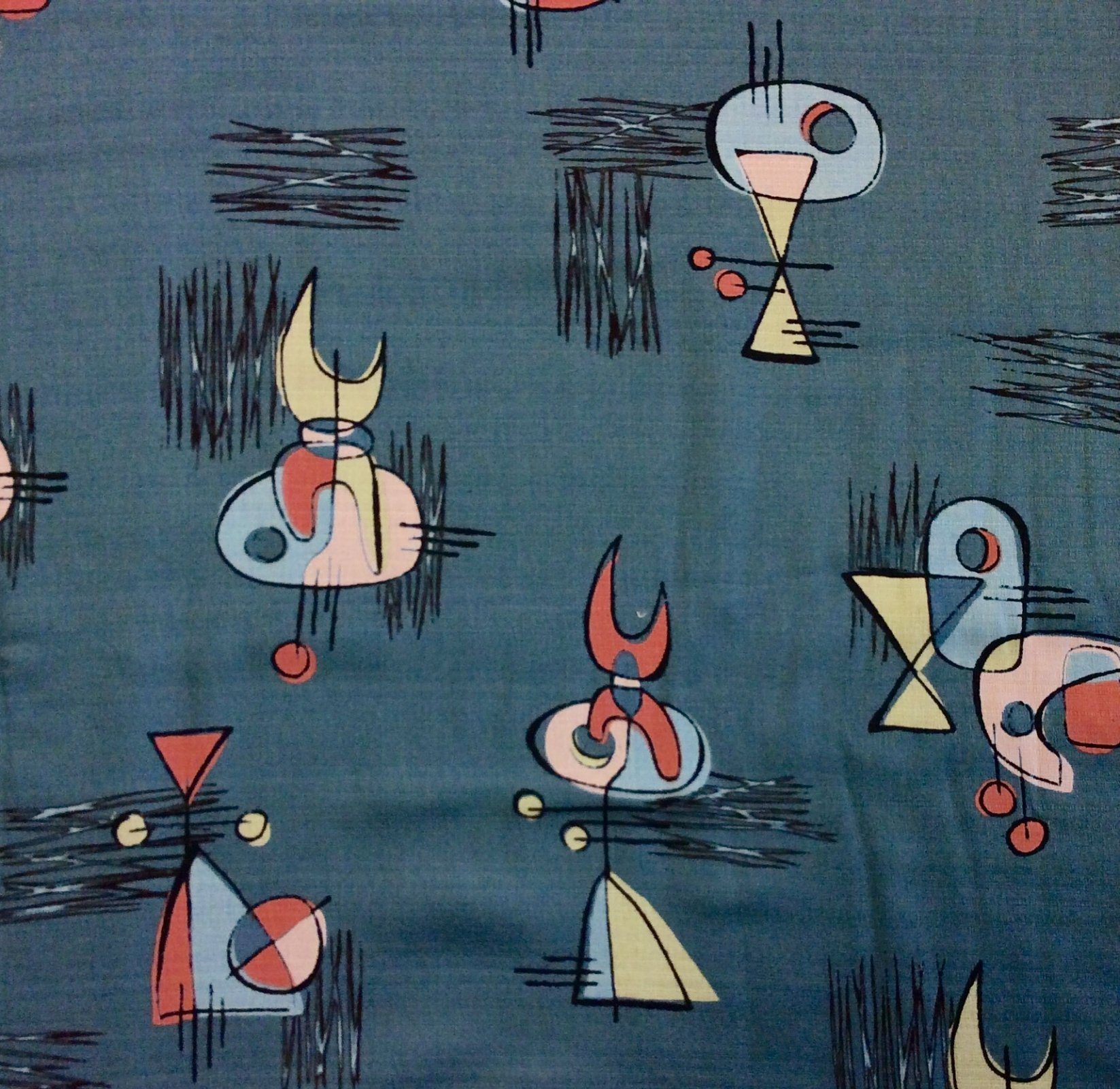 Atomic Retro Barkcloth Boomerang Sputnik MCM Mid Century Modern Slubby Texture Home Dec Cotton Fabric NT43