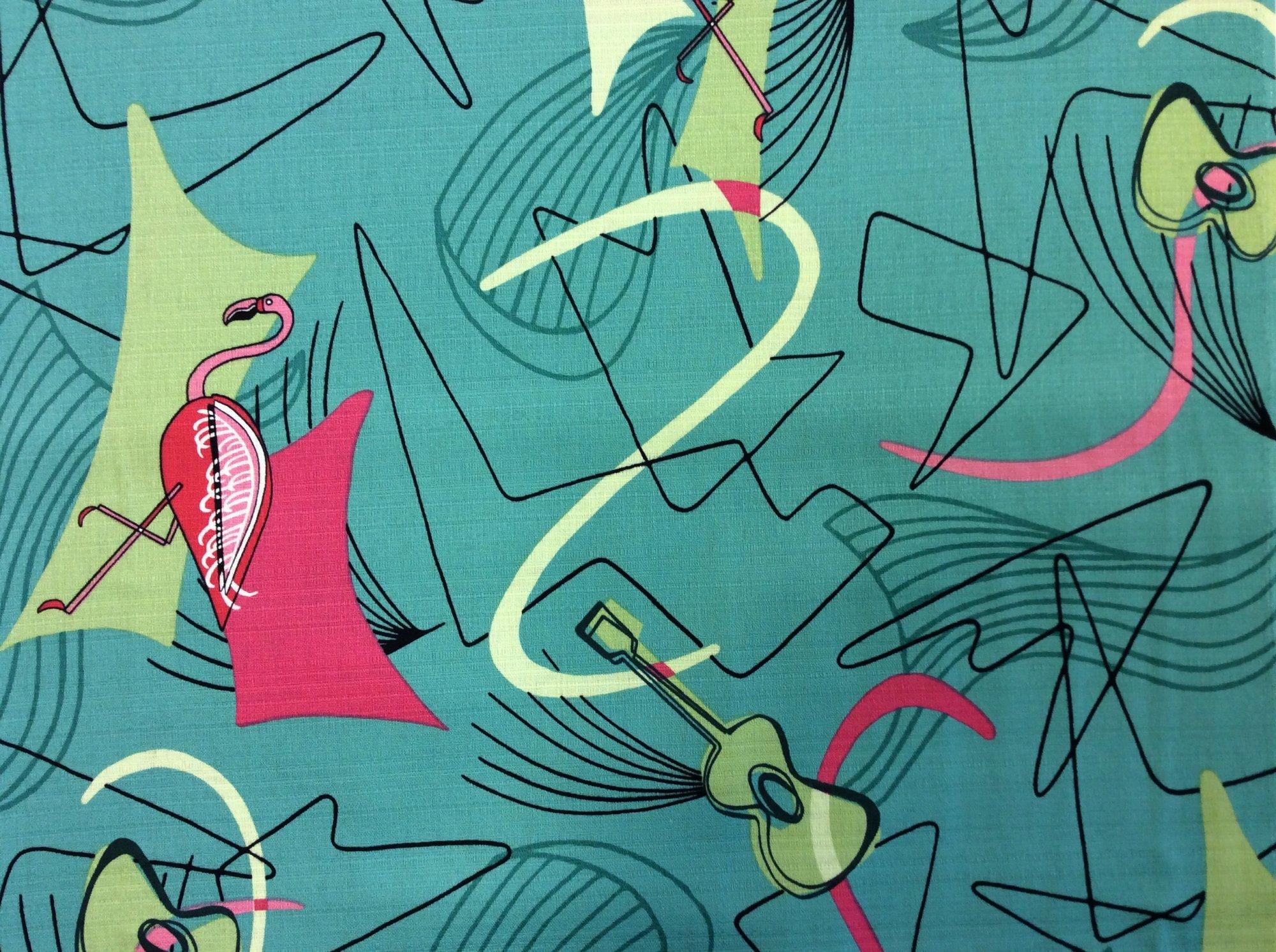 Atomic Retro Barkcloth Flamingo Boomerang Sputnik MCM Mid Century Modern Slubby Texture Home Dec Cotton Fabric NT38