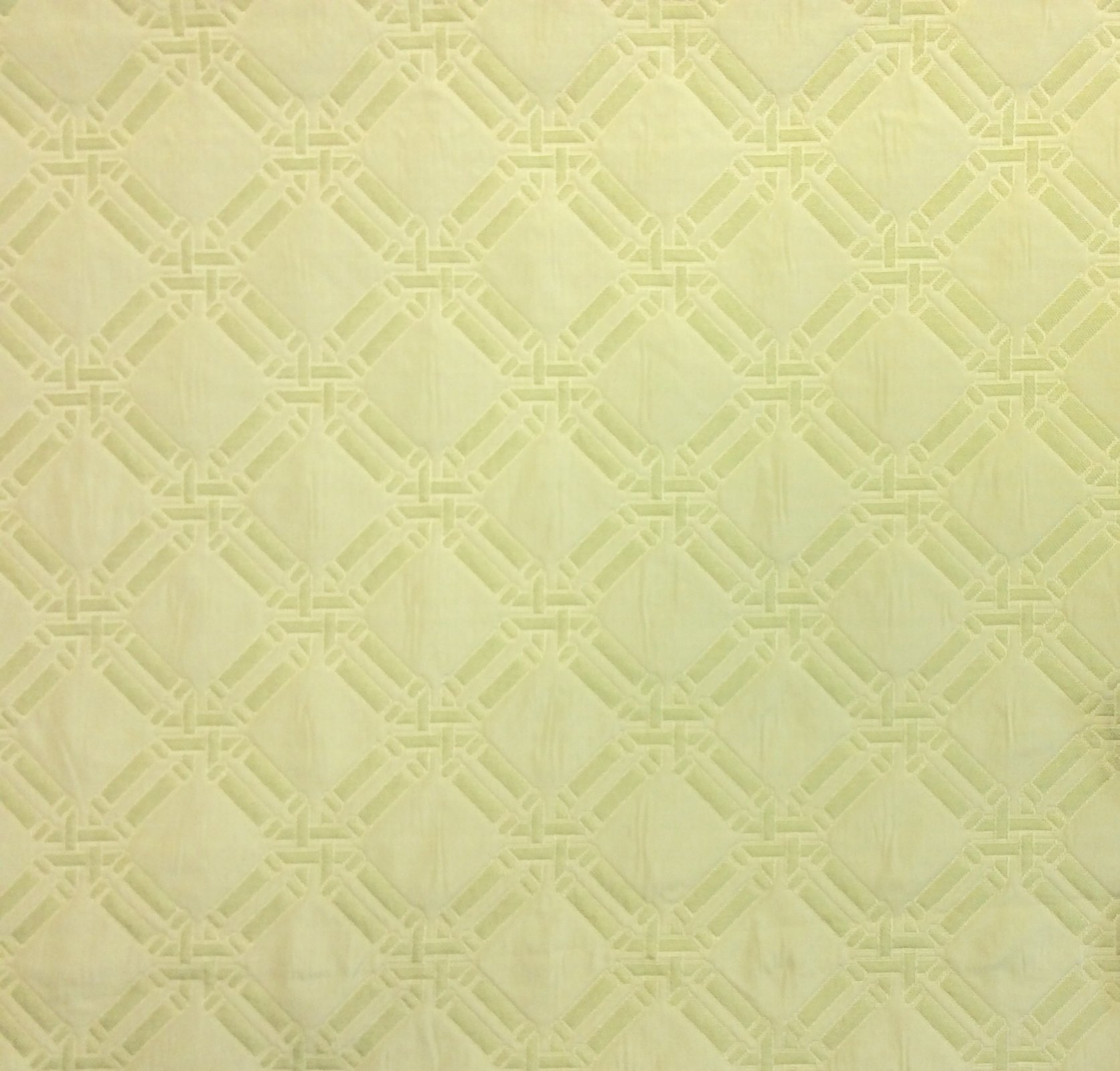 Pale Celery Green Bamboo Lattice Matelasse Light Upholstery Fabric LAT010