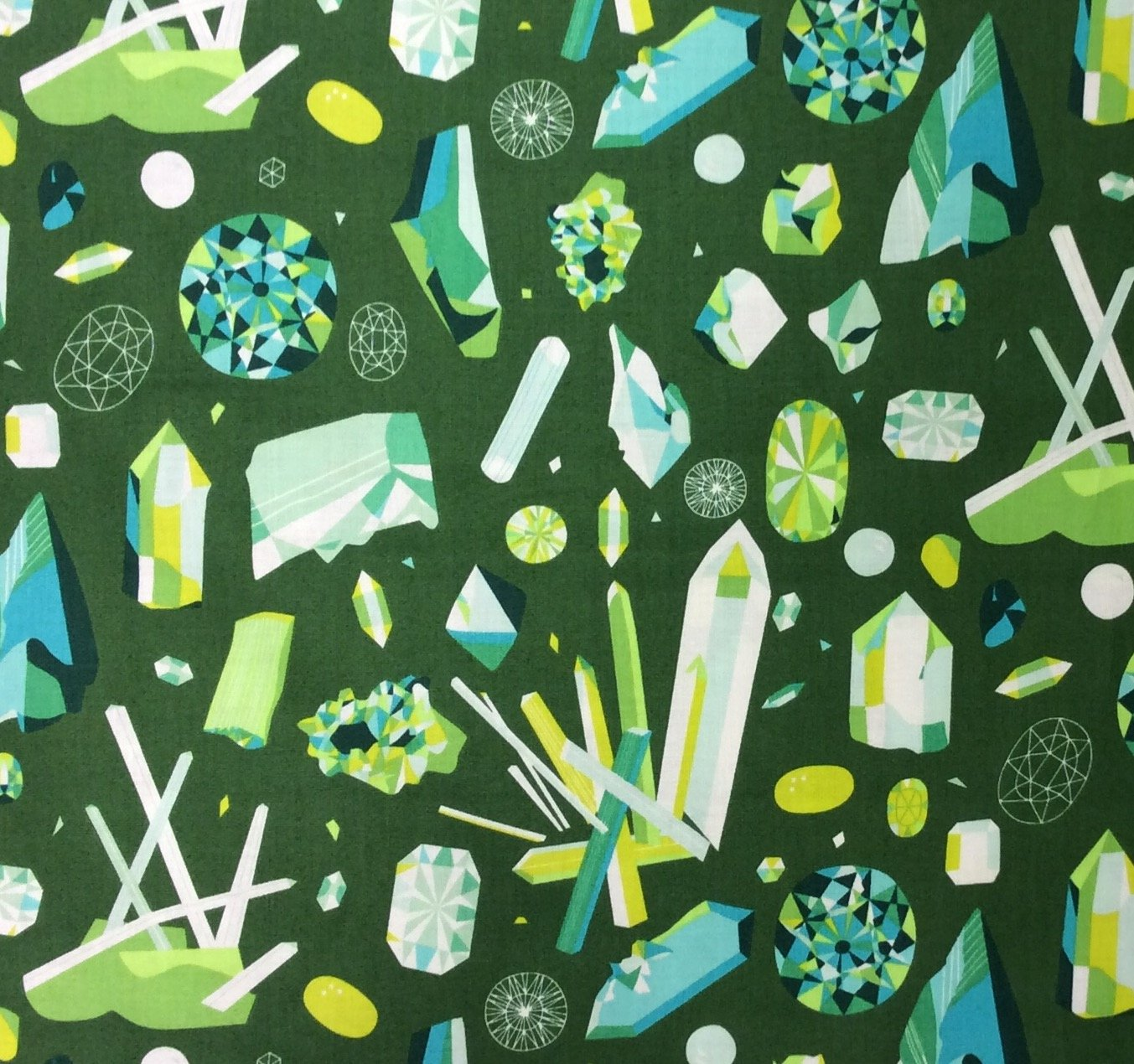 Natural History Gemstones Crystals Lizzy House Cotton Quilt  AN72