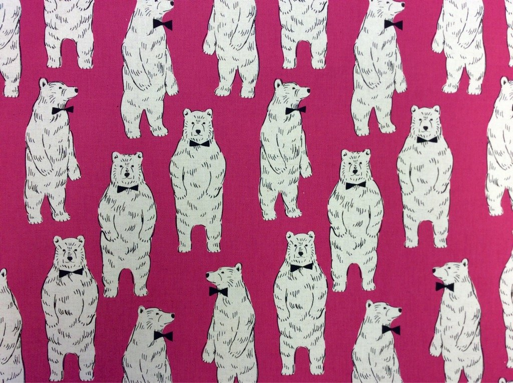 Polar Bear Japanese Retro Modern Linen Cotton Fabric Kokka EK55