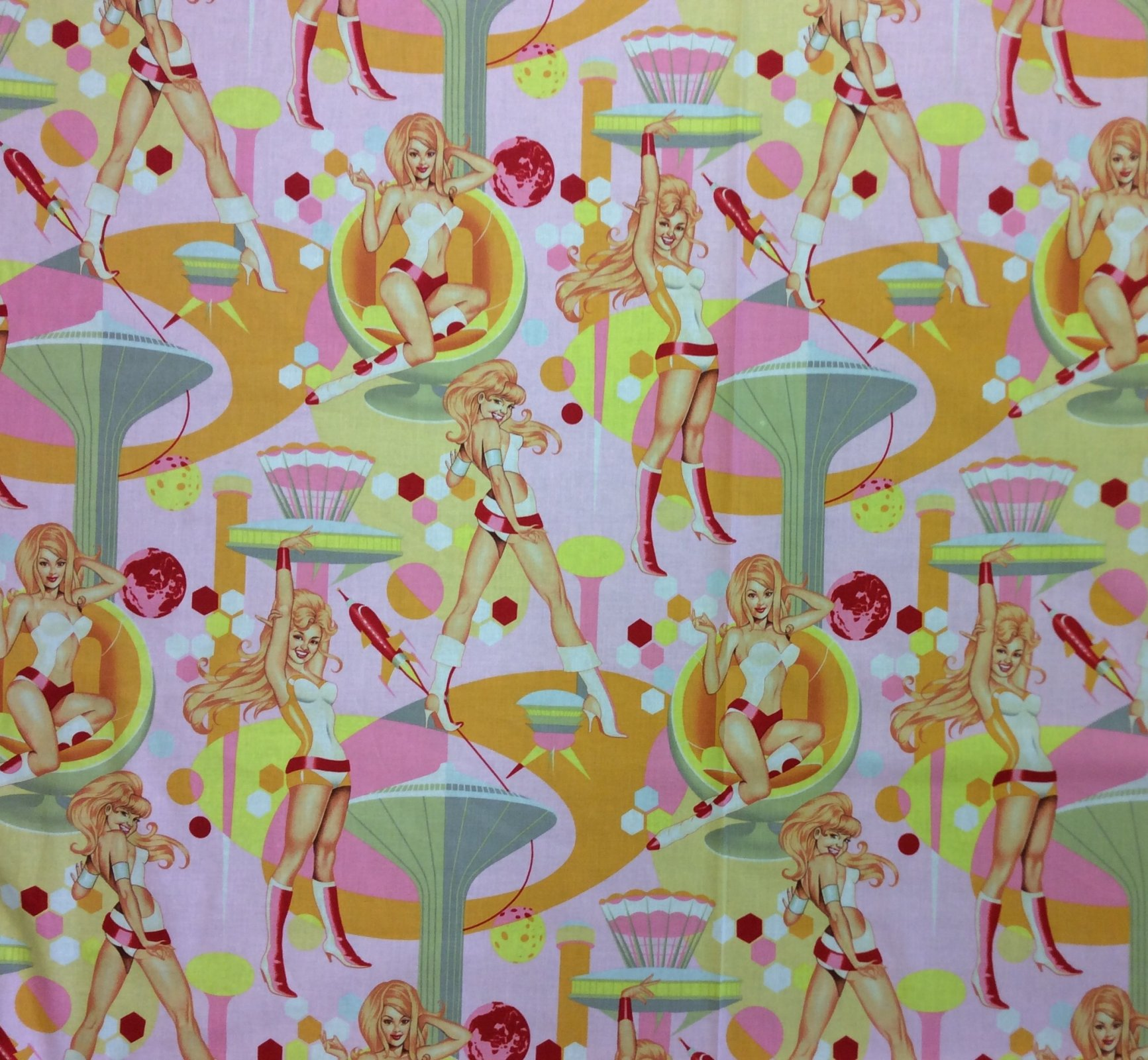 Sexy Pin Up Girls Retro Futurella Alexander Henry Cotton Quilt Fabric AH245