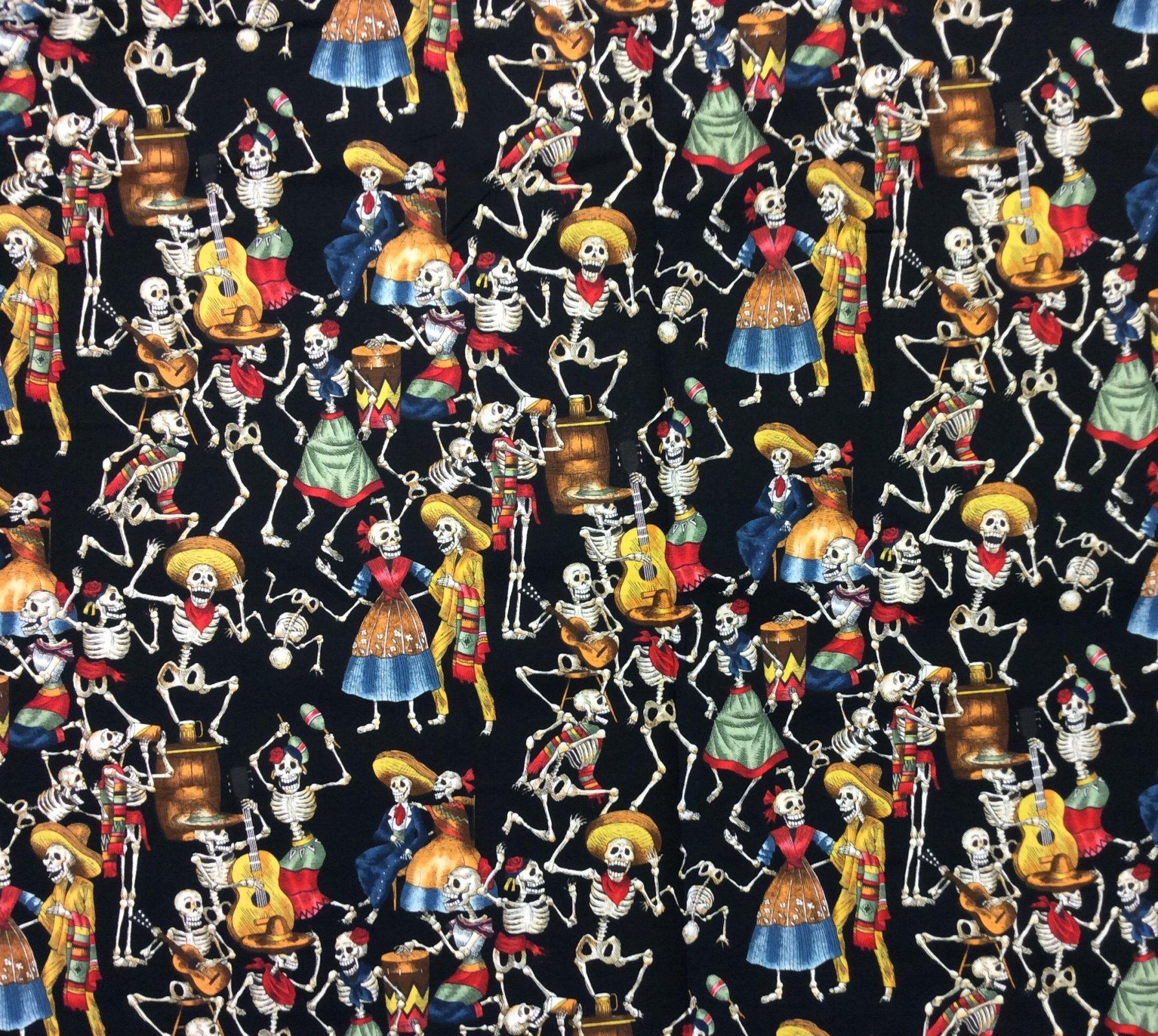 Day of the Dead Fabric Posada Fiesta de los Muertos Cotton Quilt Fabric 441