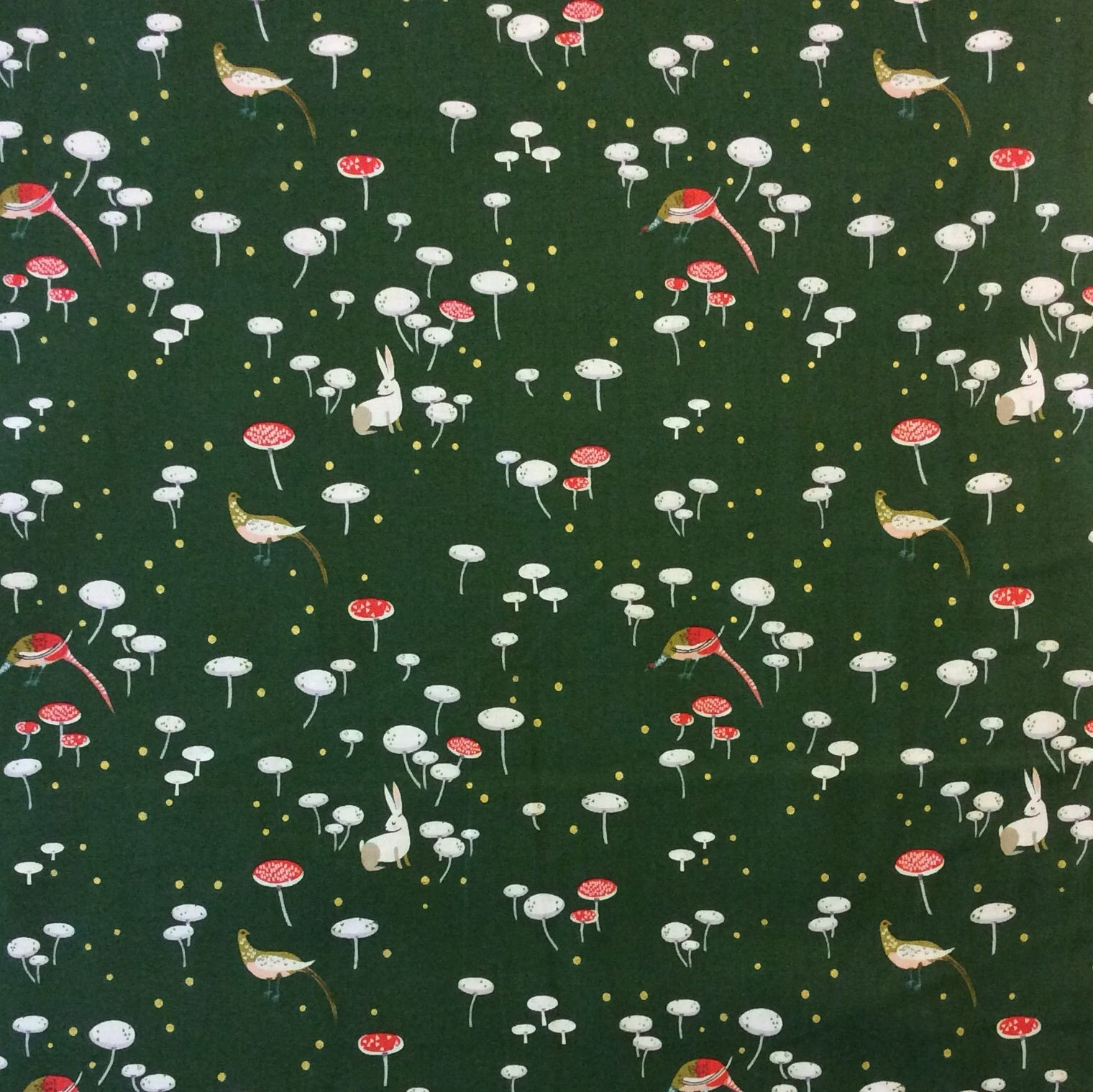 Fat Quarter! Rare, Out of Print! LIZZY HOUSE Mushroom Forest Birds Bunny Fantasy Wood Cotton Quilting Fabric FQAN38
