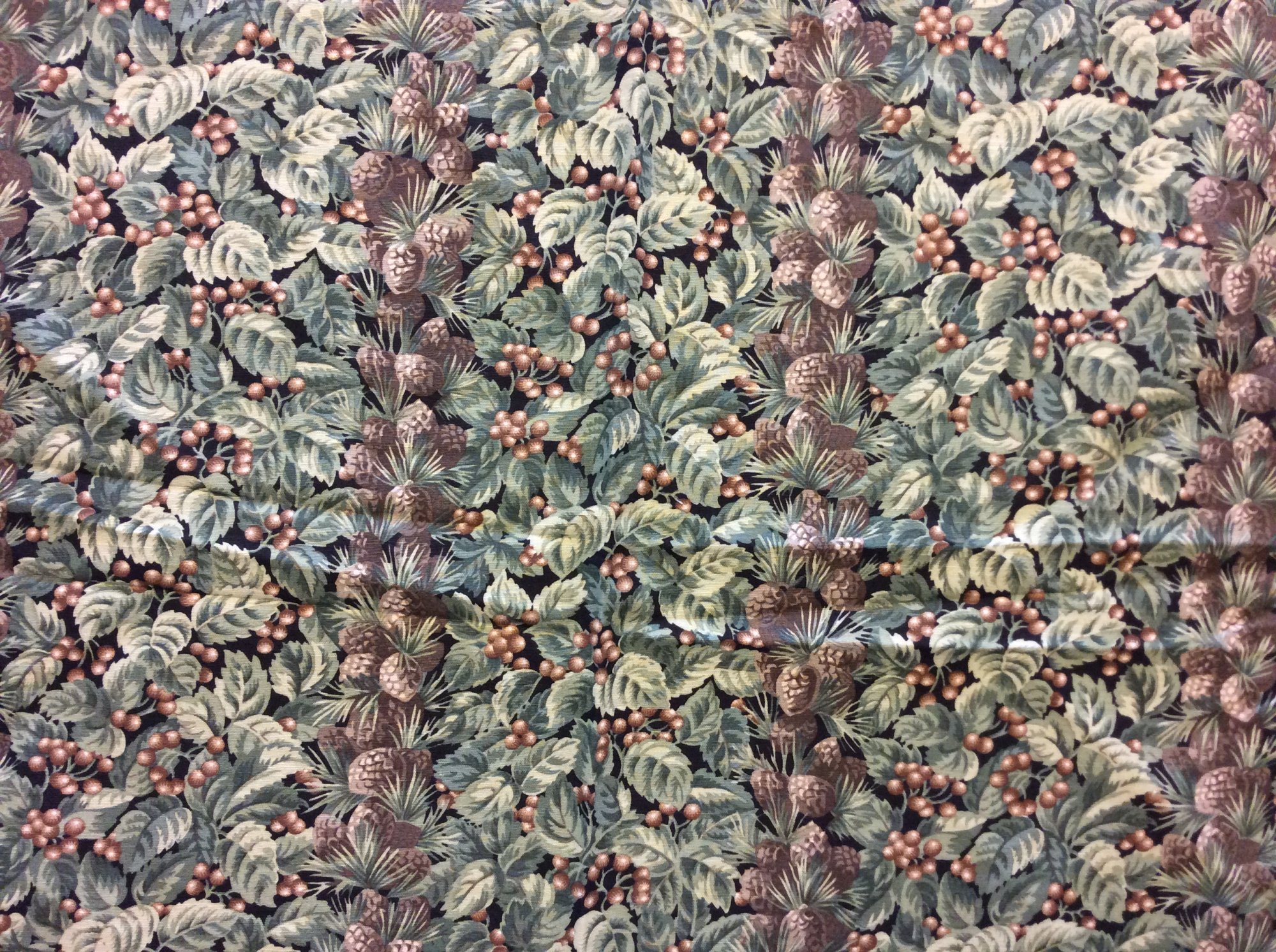 Vintage Clarence House Made in France Pinecone Forest Lodge Striped Fabric 'Le Rivet' Linen Blend Home Decor Fabric REM036