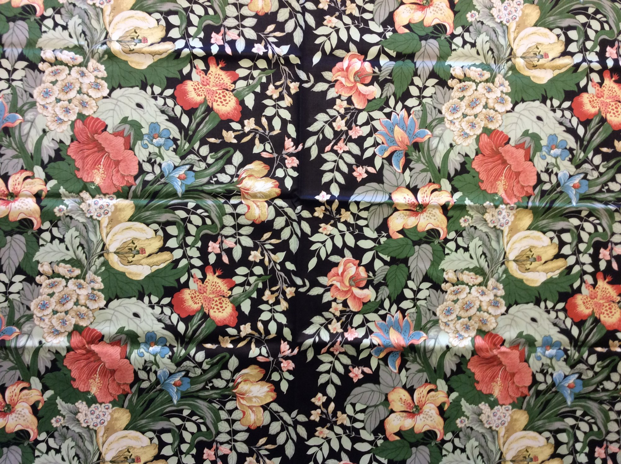 Vintage Floral Stripe Tulip Vine Greenery Green Pink Shabby Chic Bold French Home Decor Polished Cotton Upholstery Fabric REM038