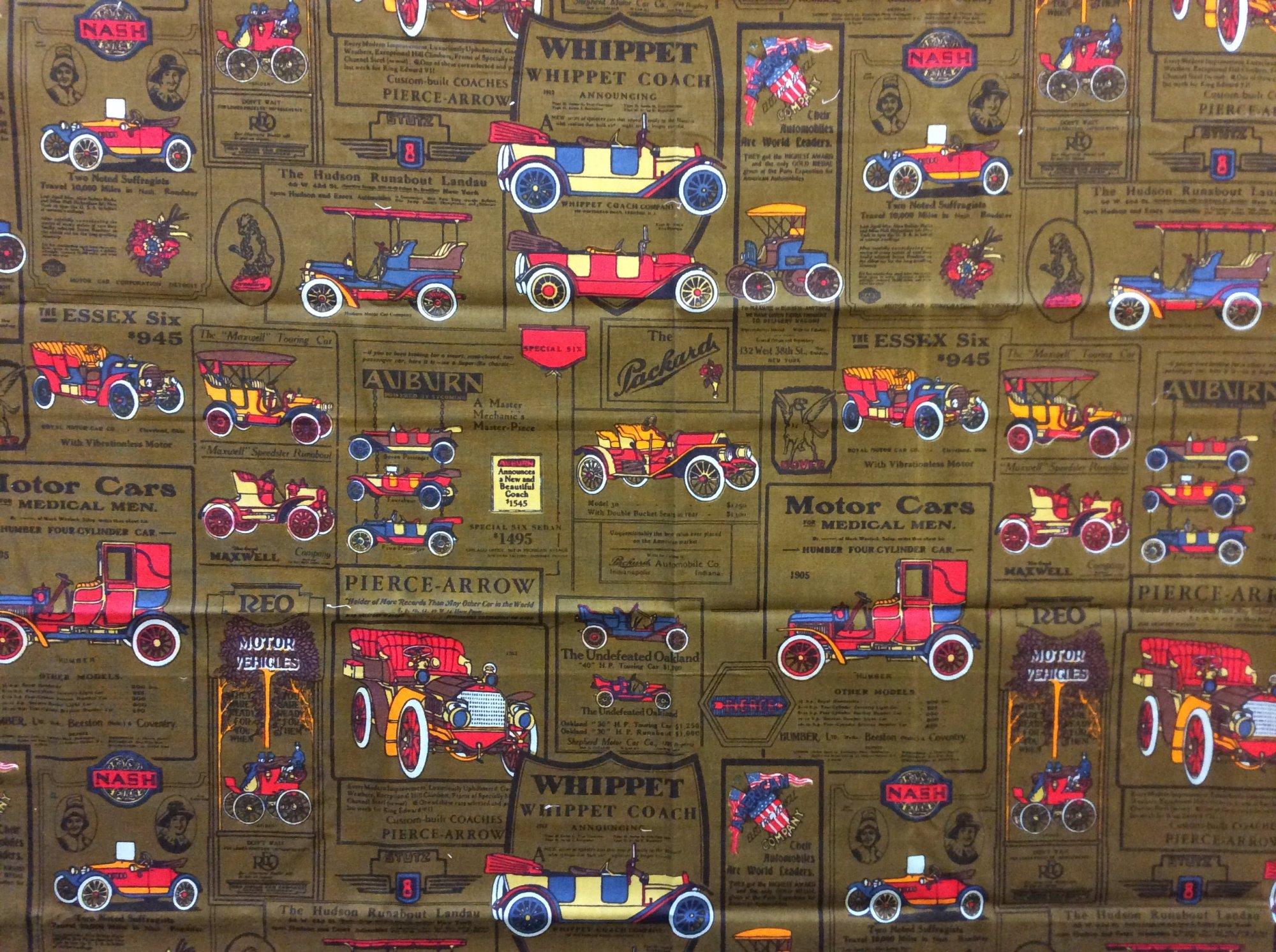 Vintage Cotton Canvas Print Antique Car Vintage Automobile Pierce Arrow Packard Auburn Essex Six Whippet Coach Home Decor Fabric REM042