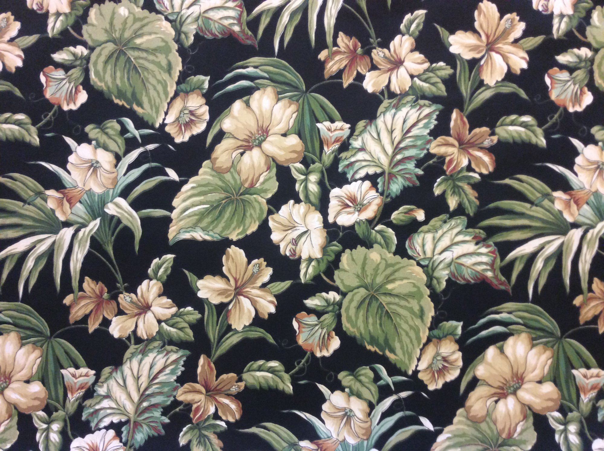 Floral Hibiscus Night Floral Flower Print Soft Famous Maker Acrylic Indoor Outdoor Fabric s403