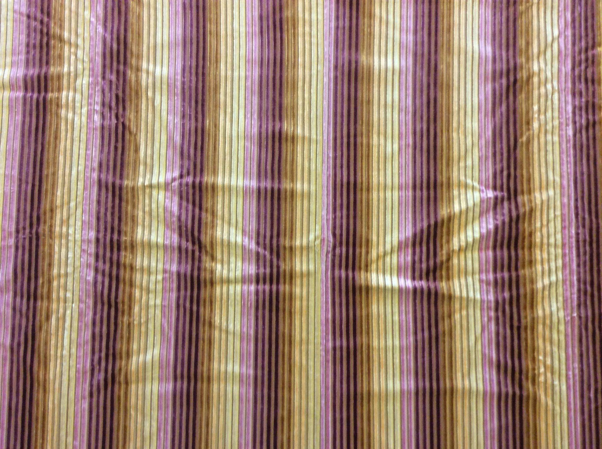 High End Remnant, Last Piece! Purple and Gold Ombre Striped Cut Velvet Stripe Home Decor Fabric REM044