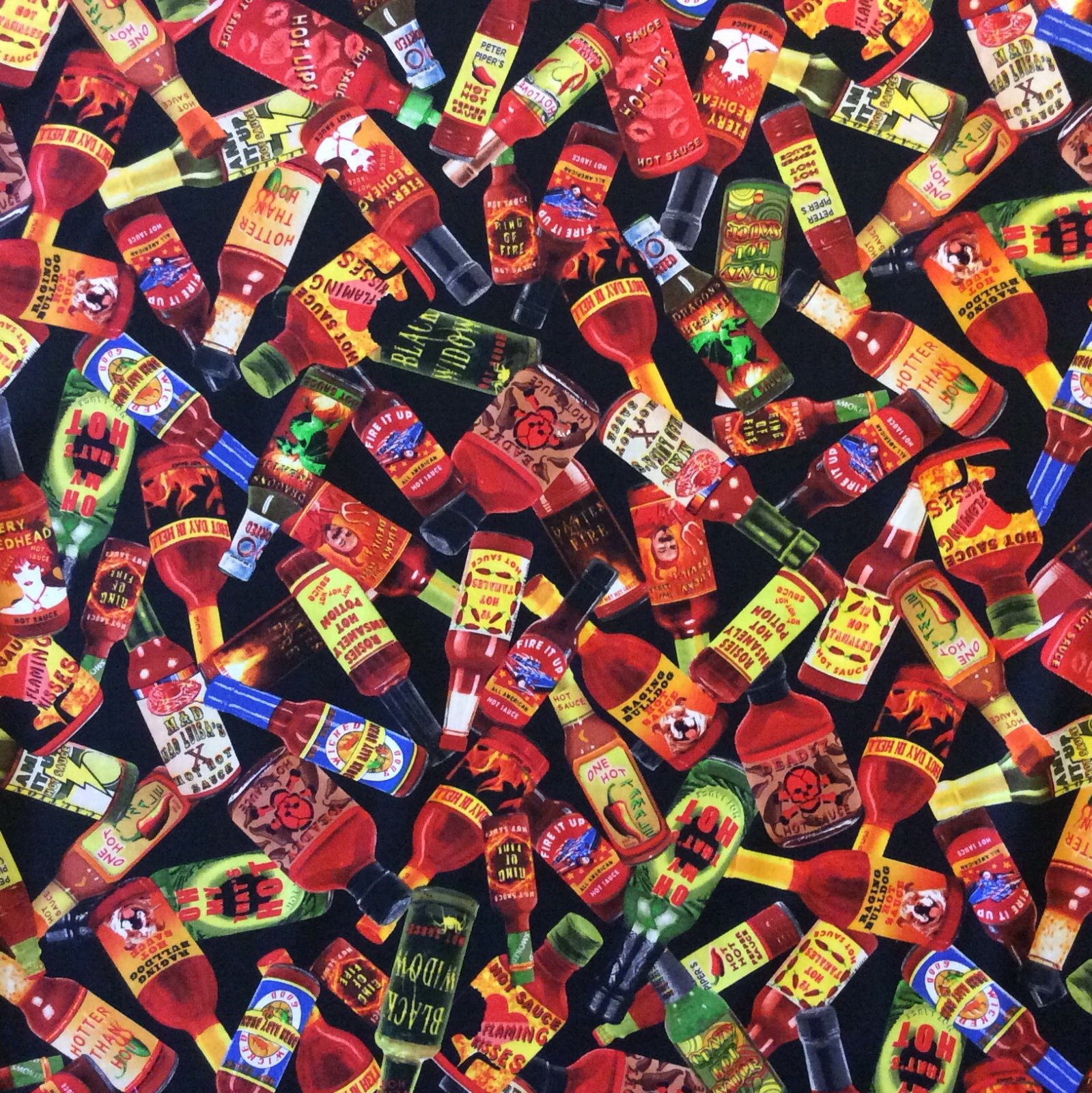 Fat Quarter! Hot Sauce Chili Spicy Condiment Pepper Quilt Cotton Fabric FQMD270
