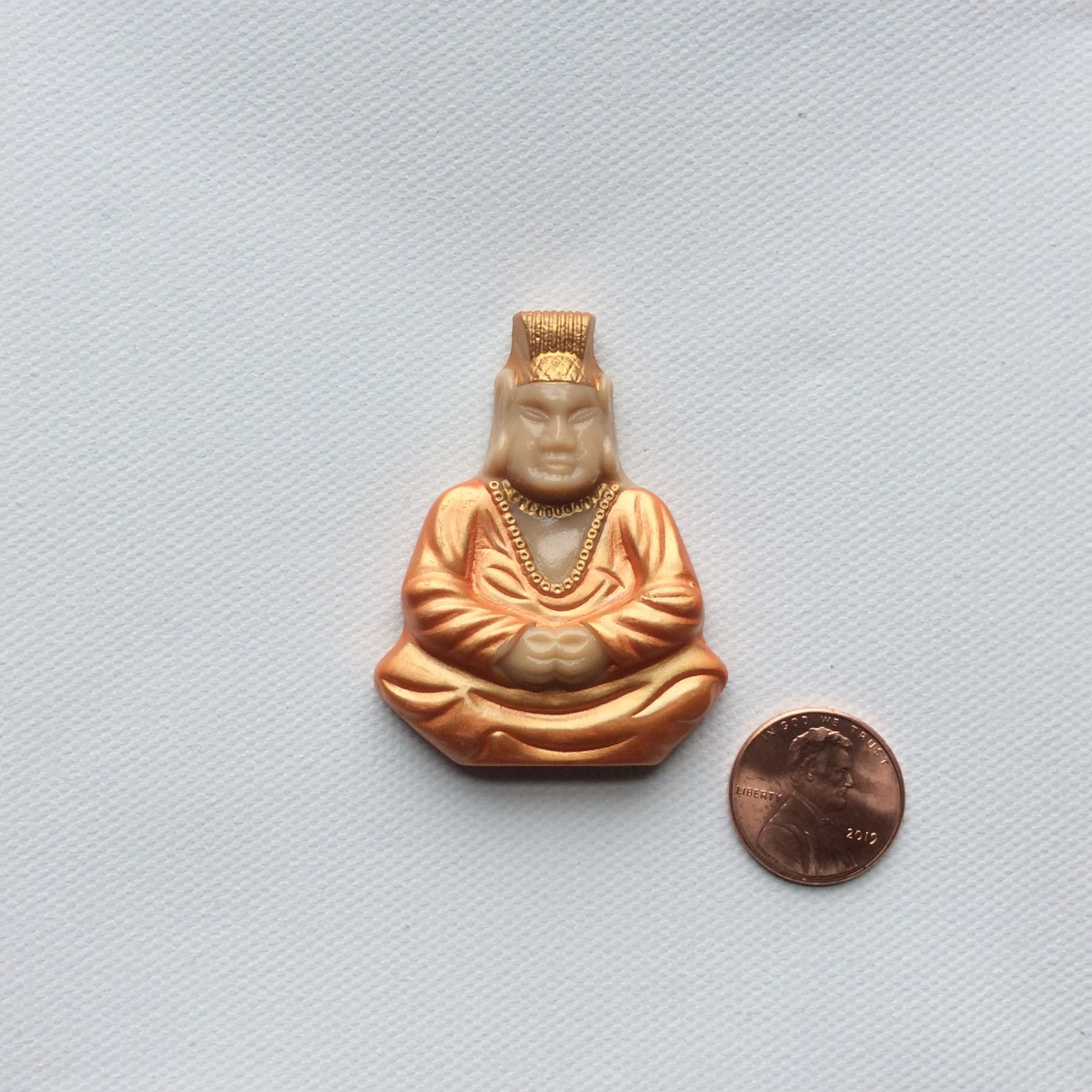 Bohemian Glass Extra Large Seated Buddha Bright Sewing Button Iridescent Hand Painted Glass WX09