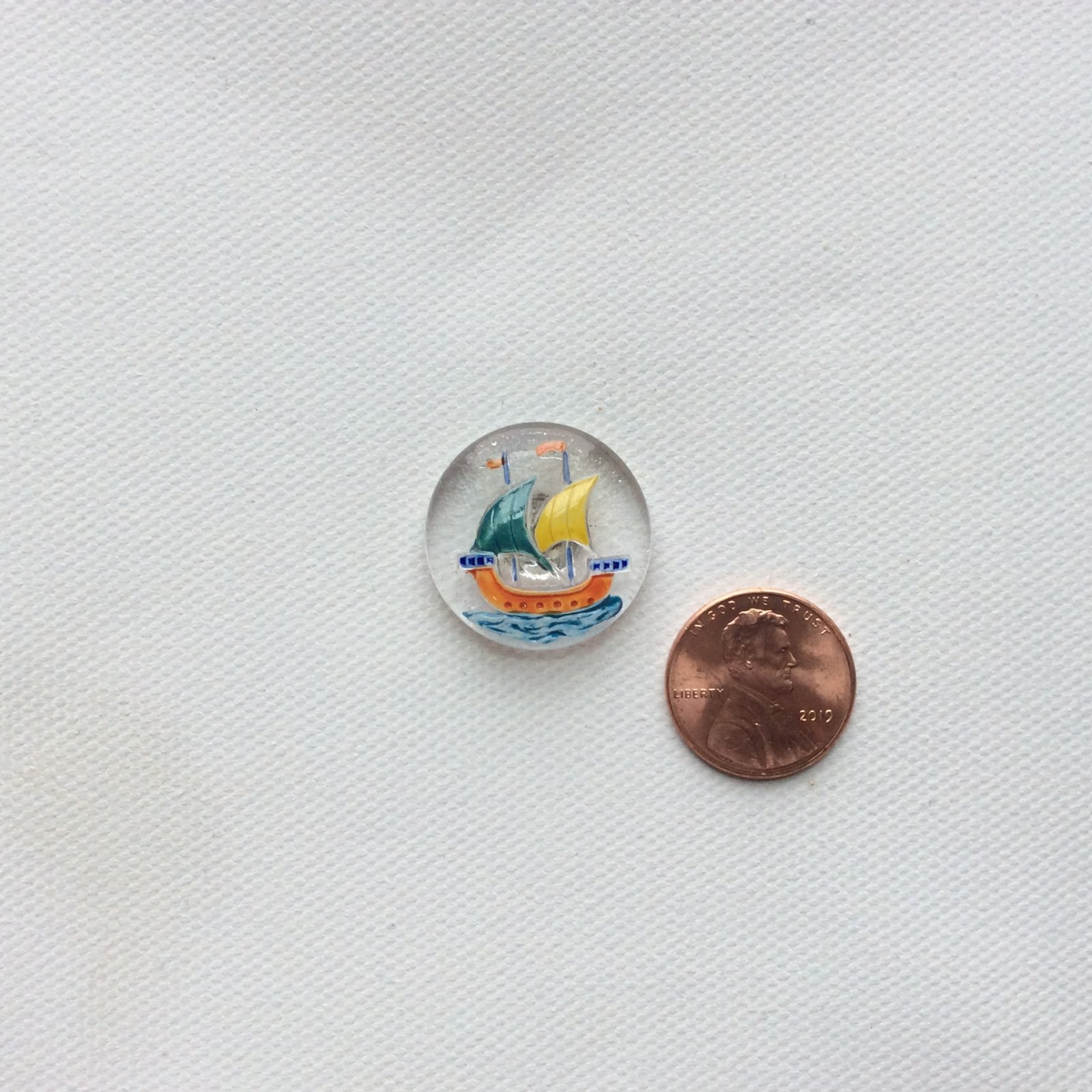 Vintage Mid Century Modern Norway Viking Ship Clear and Bright Bohemian Glass Button BUTTON196X