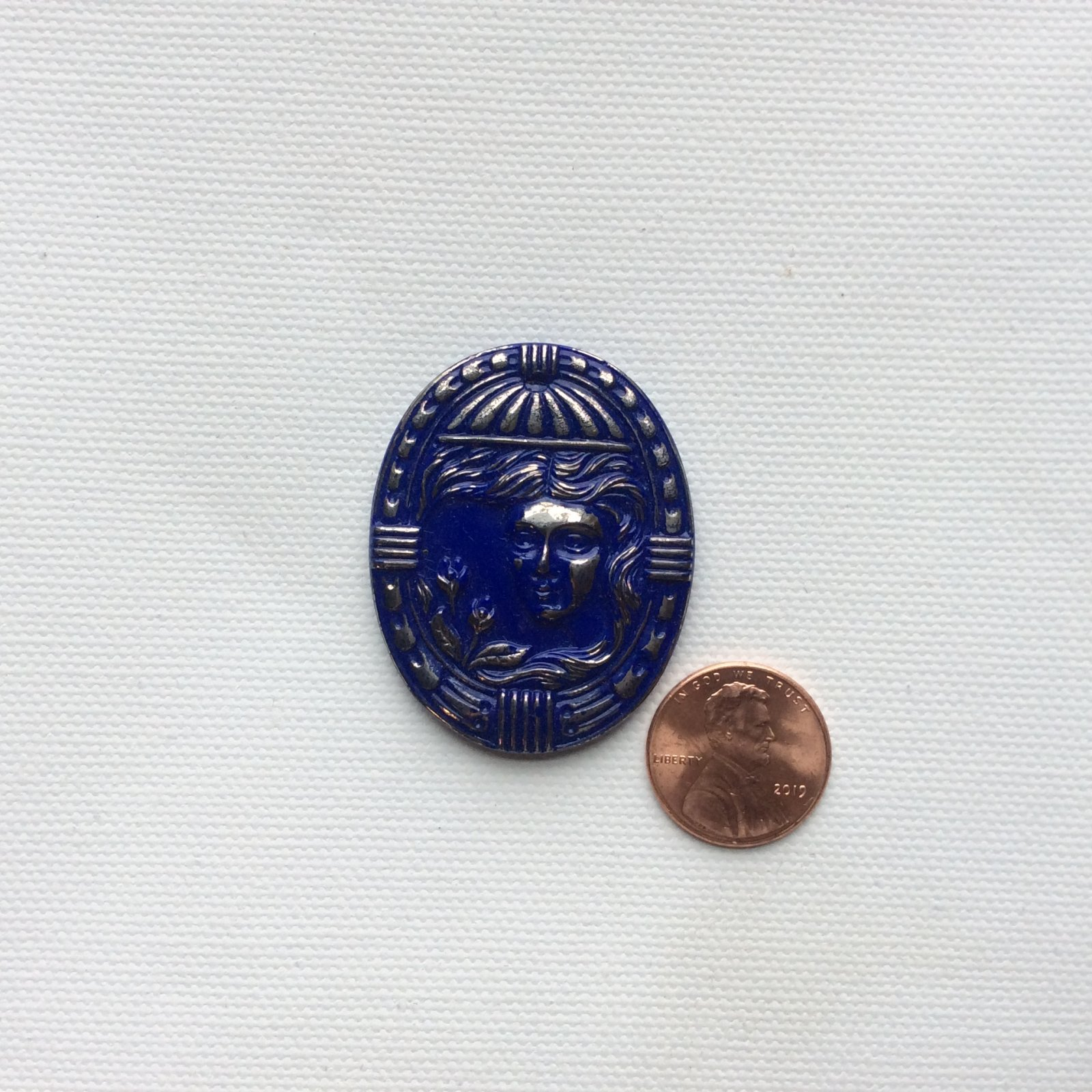 Czech Glass Blue and Silver Lady Cameo Romantic Glass Sewing Button CZG01