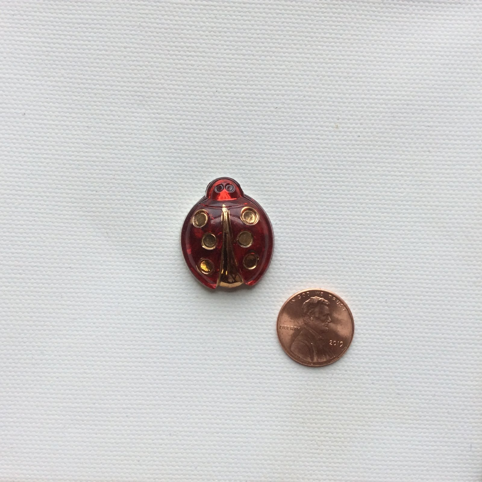 Vintage Ladybug Clear Red and Metallic Bohemian Glass Button BUTTON195B