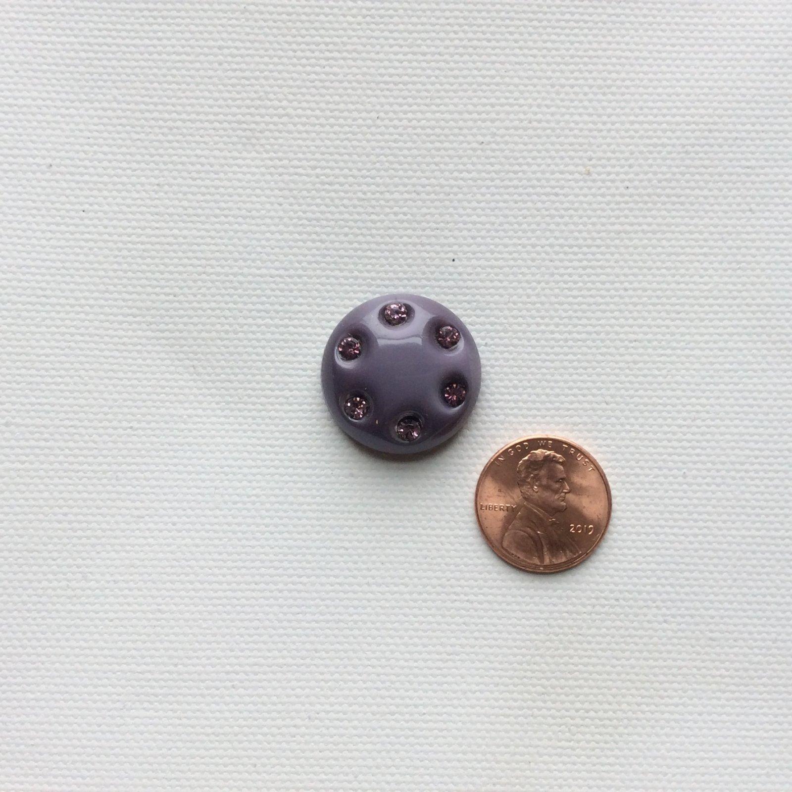 Czech Glass Light Purple with Purple Rhinestone Round Glass Sewing Button CZG09