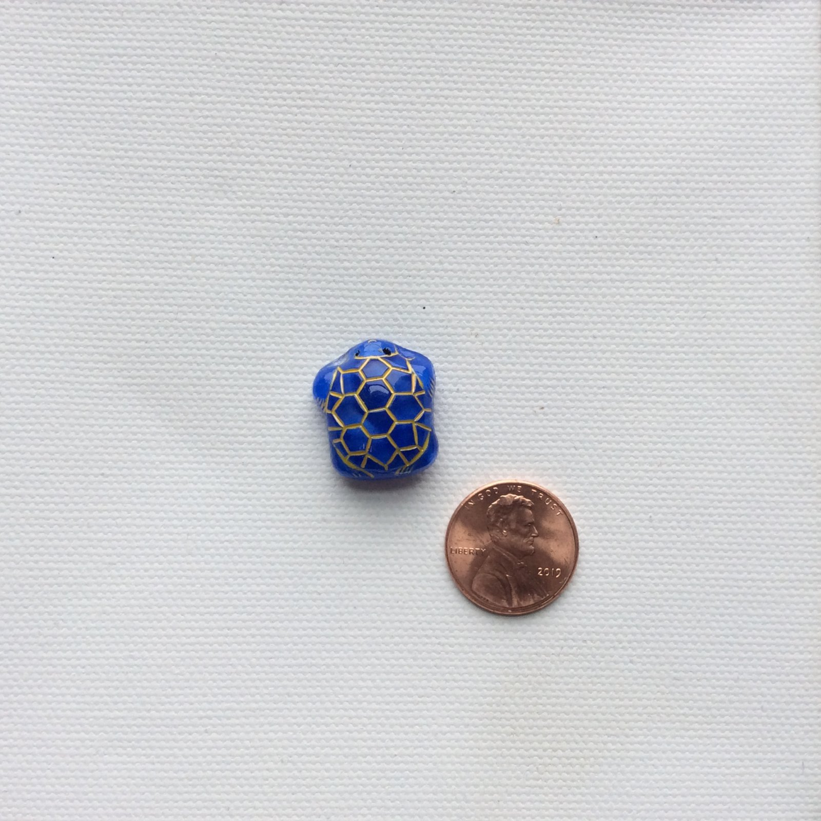 Czech Glass Hand Painted Gold and Royal Blue Sea Turtle Glass Sewing Button CZG15