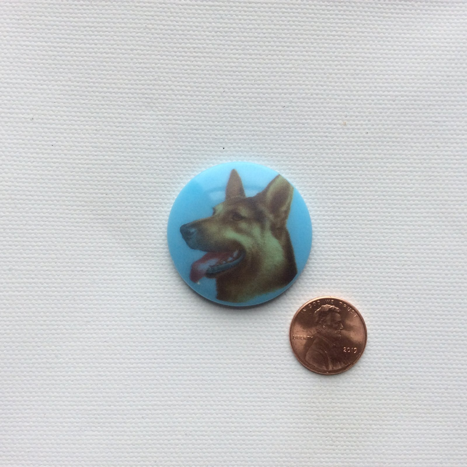 Czech Glass Hand Painted German Shepard Dog Breed Glass Sewing Button CZG24
