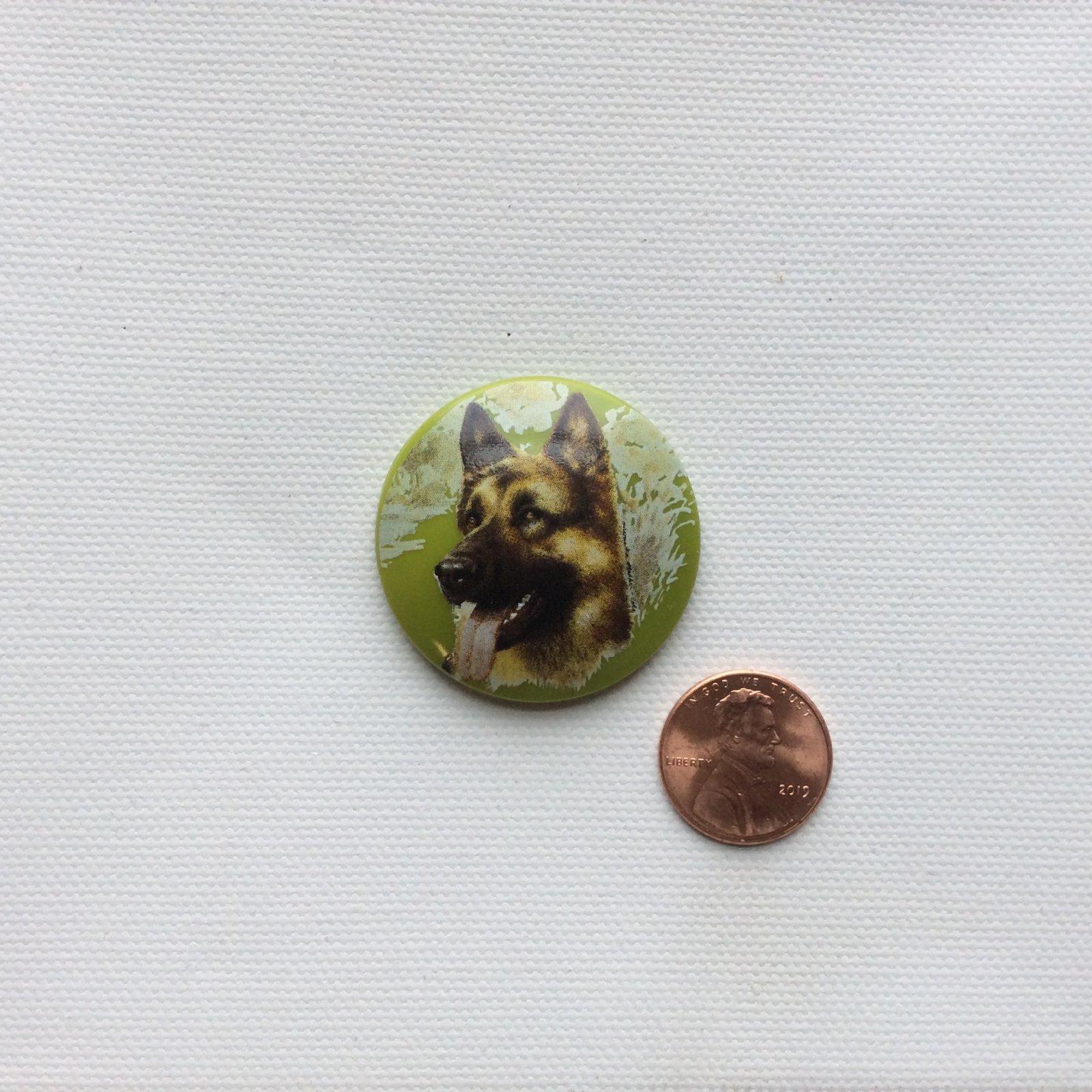 Czech Glass Hand Painted German Shepard Dog Breed Glass Sewing Button CZG25