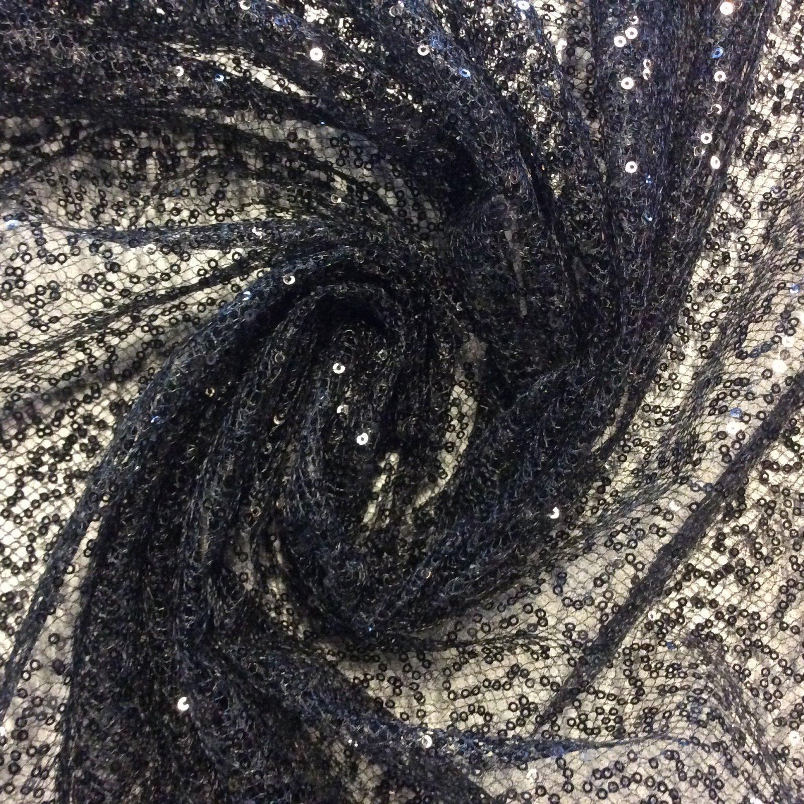 Black Mini Sequin Evening Wear Prom Black Mesh Netting Apparel Dress Fabric FM1403
