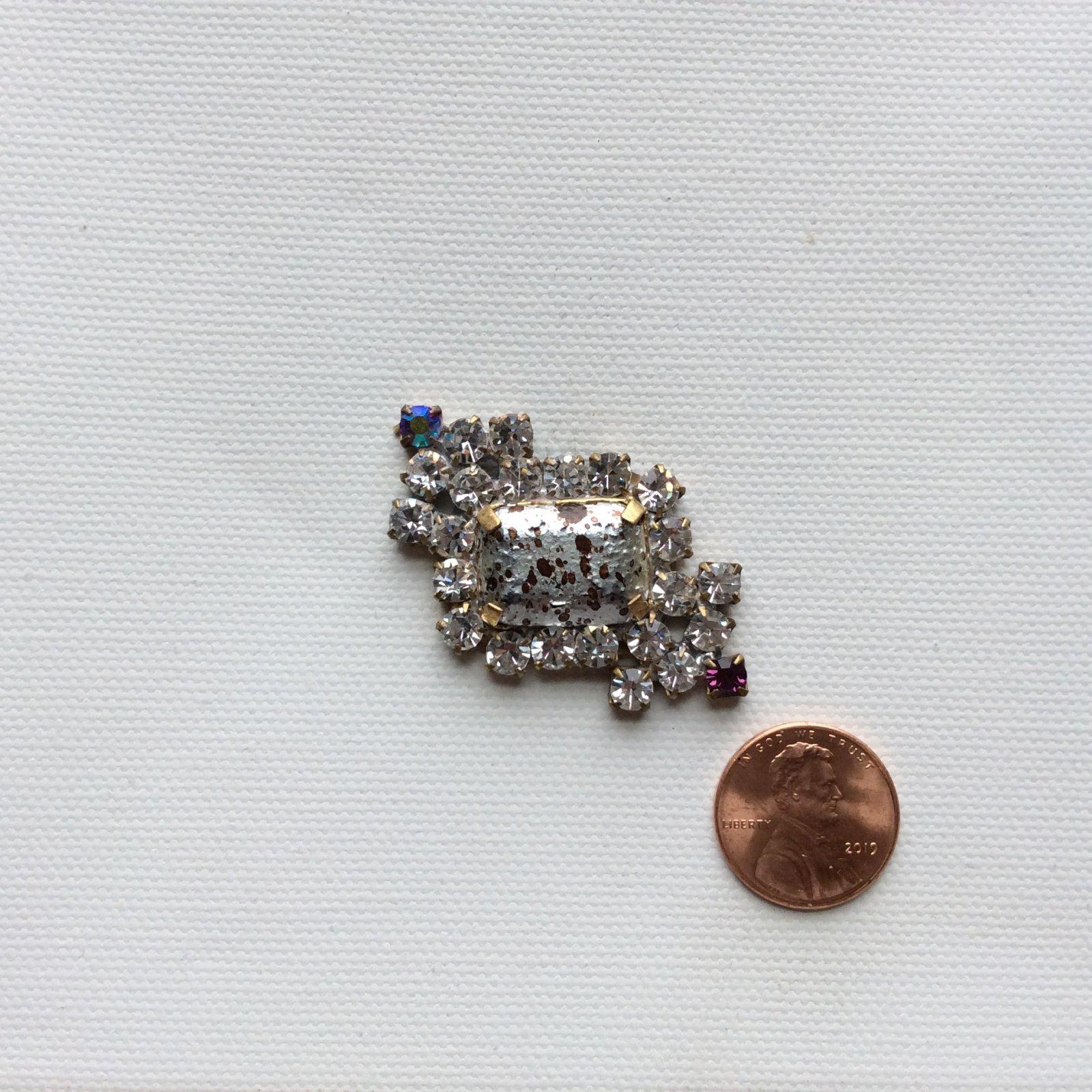 Vintage Czech Glass Rhinestone Jewelry Making Sew on Button Faceted Stone Decorative Costume Jewelry Pendant CZG034