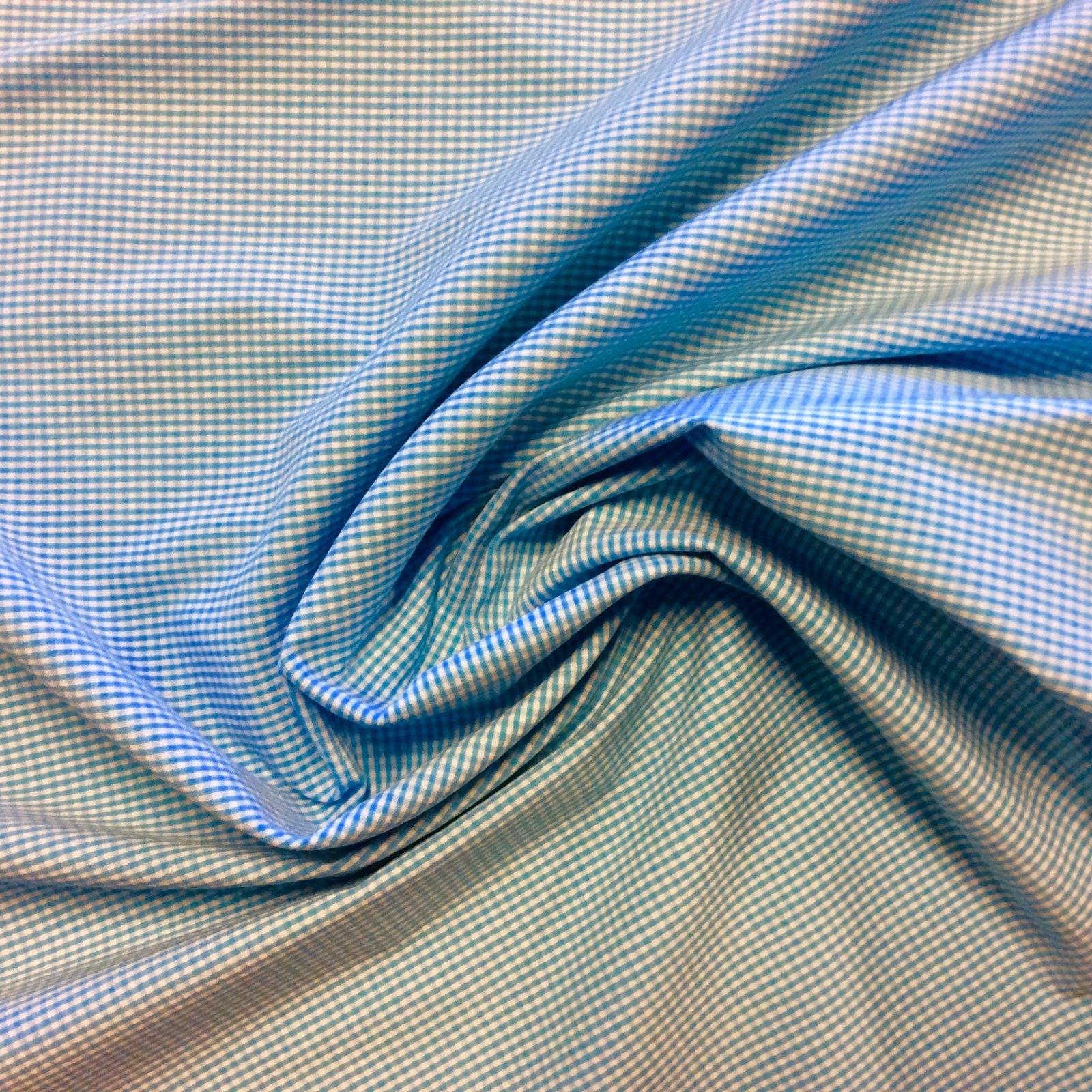Mini Gingham Blue Aqua and White Polyester Shirting Fabric Stretch Apparel Dress Fabric FMT22