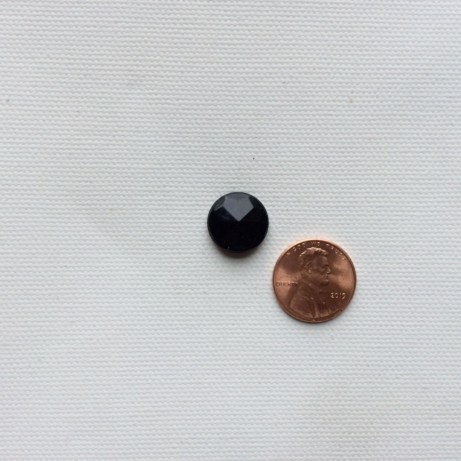 Small Round Antique Faceted Black Glass Metal Shank Button VB005