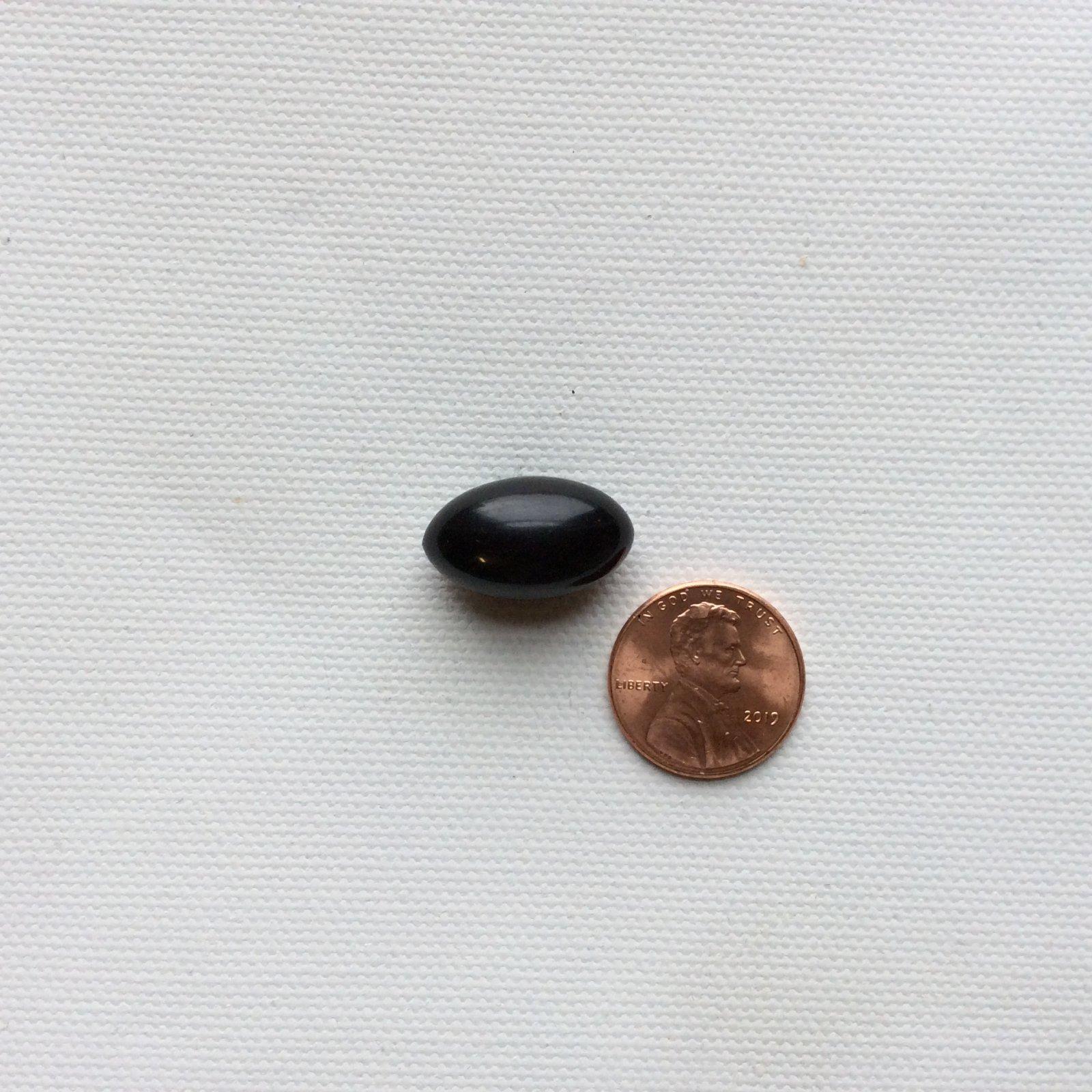 Antique Vintage Oval Black Plastic Button VB006