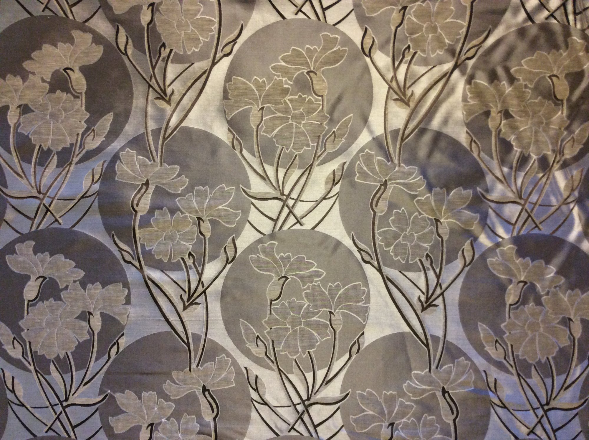 Incredible Heavy Woven Silk Medallion Asian Inspired Floral Taupe Brown Neutral Home Decor Upholstery Silk Fabric LT02