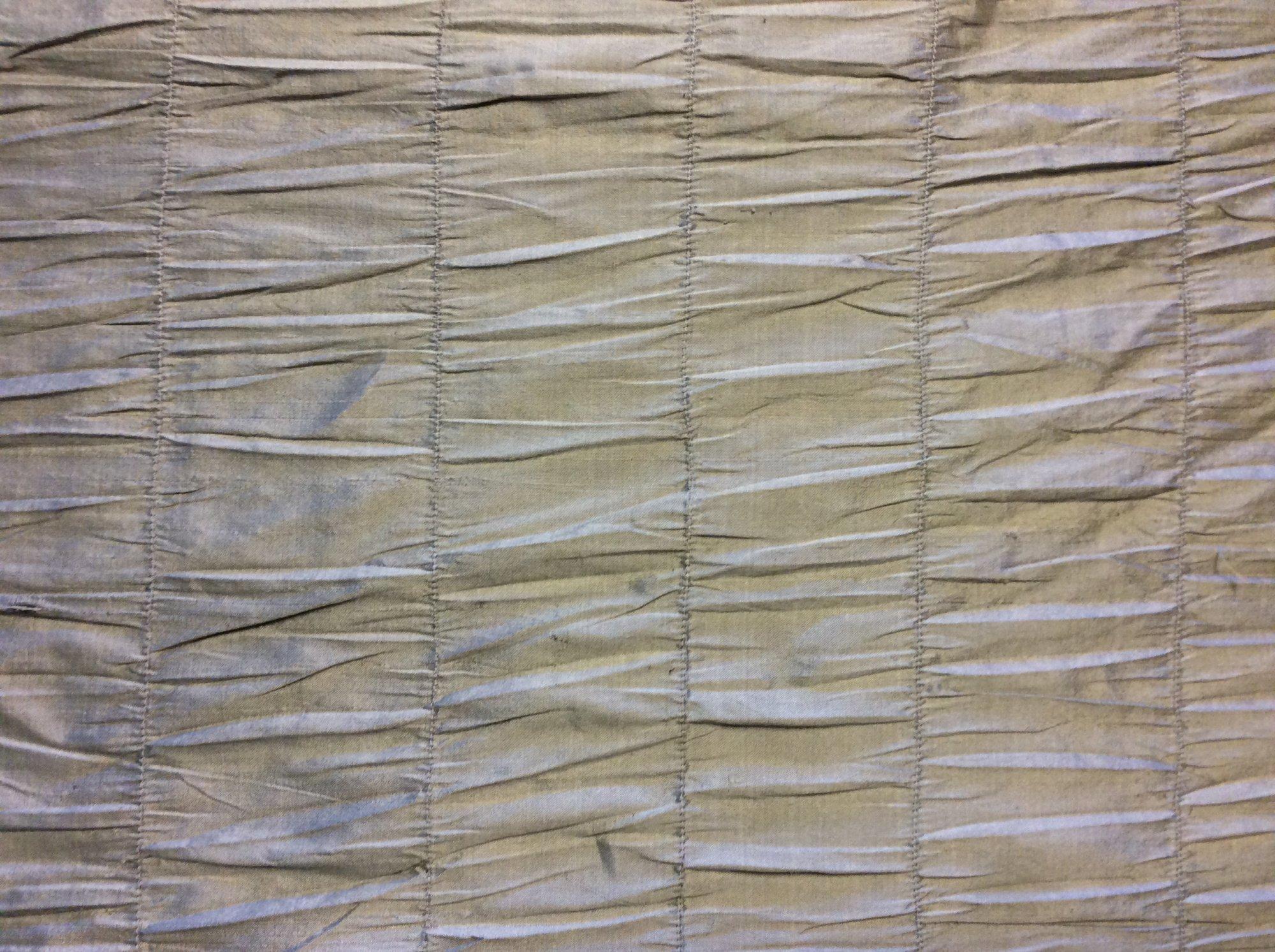 Shirred Stripe Dupioni Silk Striped Golden Taupe Home Decor Apparel Silk Fabric FM9012