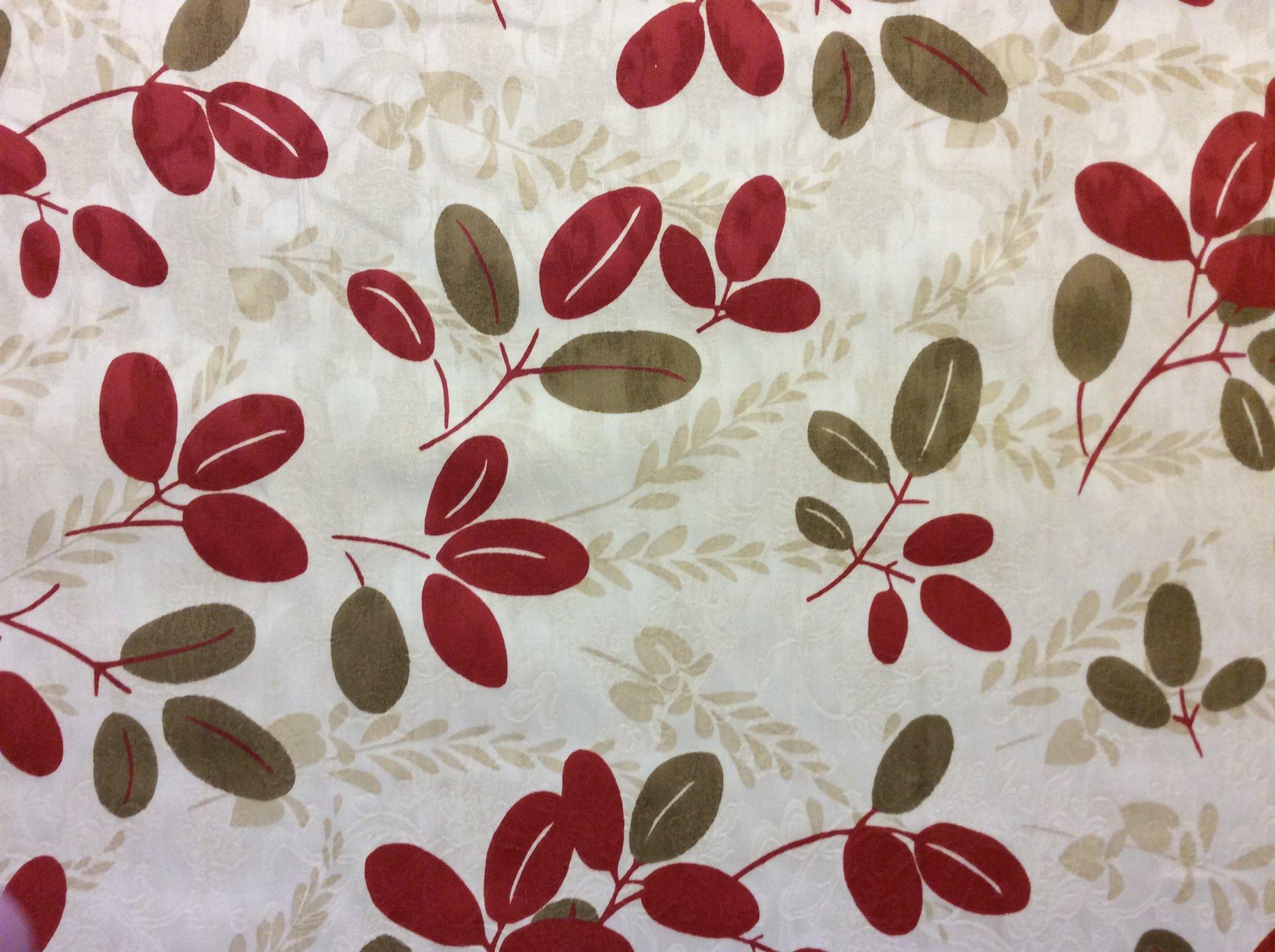 Scandinavian Modern Red Brown and Dark Cream Leaf Twig Heavy Weight Cotton Fabric Drapery Fabric HD821
