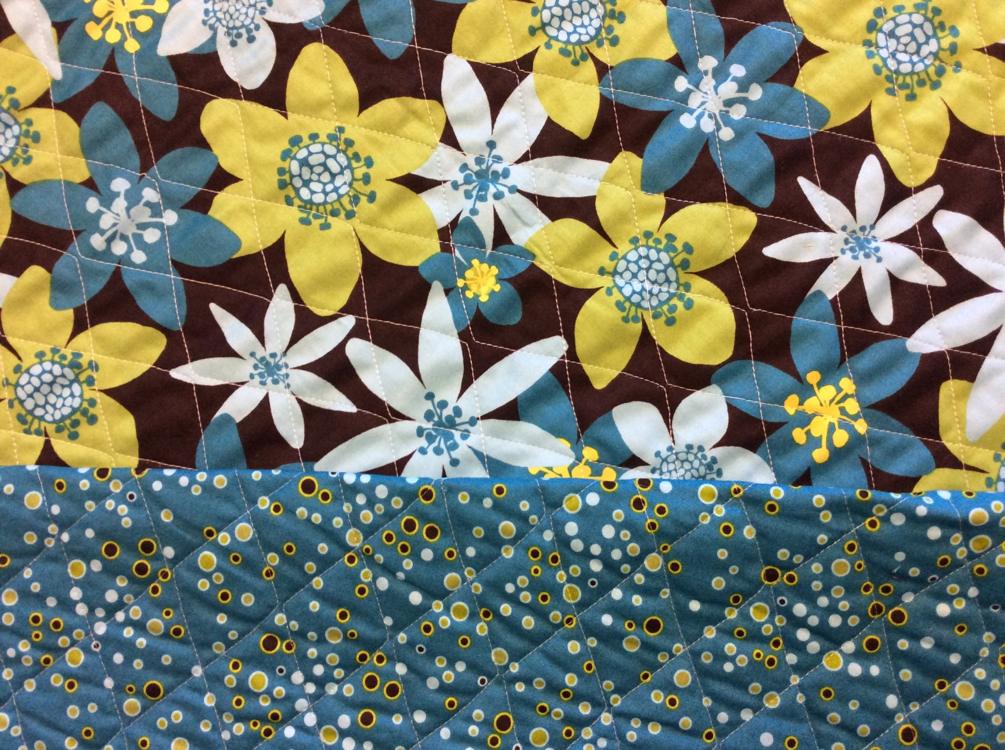 Last Piece! 1.5 yard Piece! Pre Quilted Floral Polka Dot Modern Chocolate Brown Lime Green Agua Blue Cotton Sewing Fabric DMD005