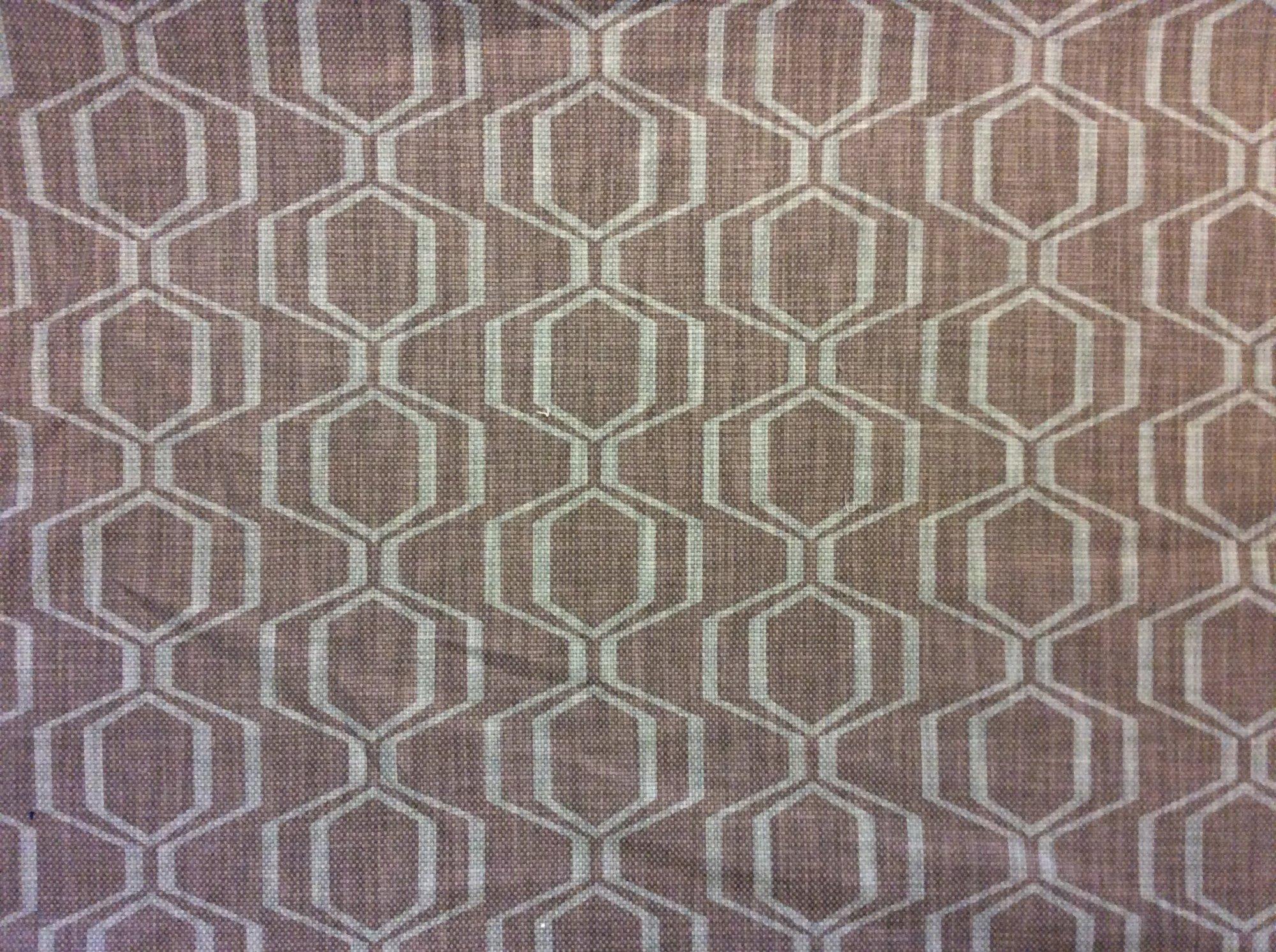 Mid Century Modern Look West Elm Warm Gray and Light Aqua Graphic Chain Link Lattice Heavy Print Home Decor Upholstery Fabric WELM001