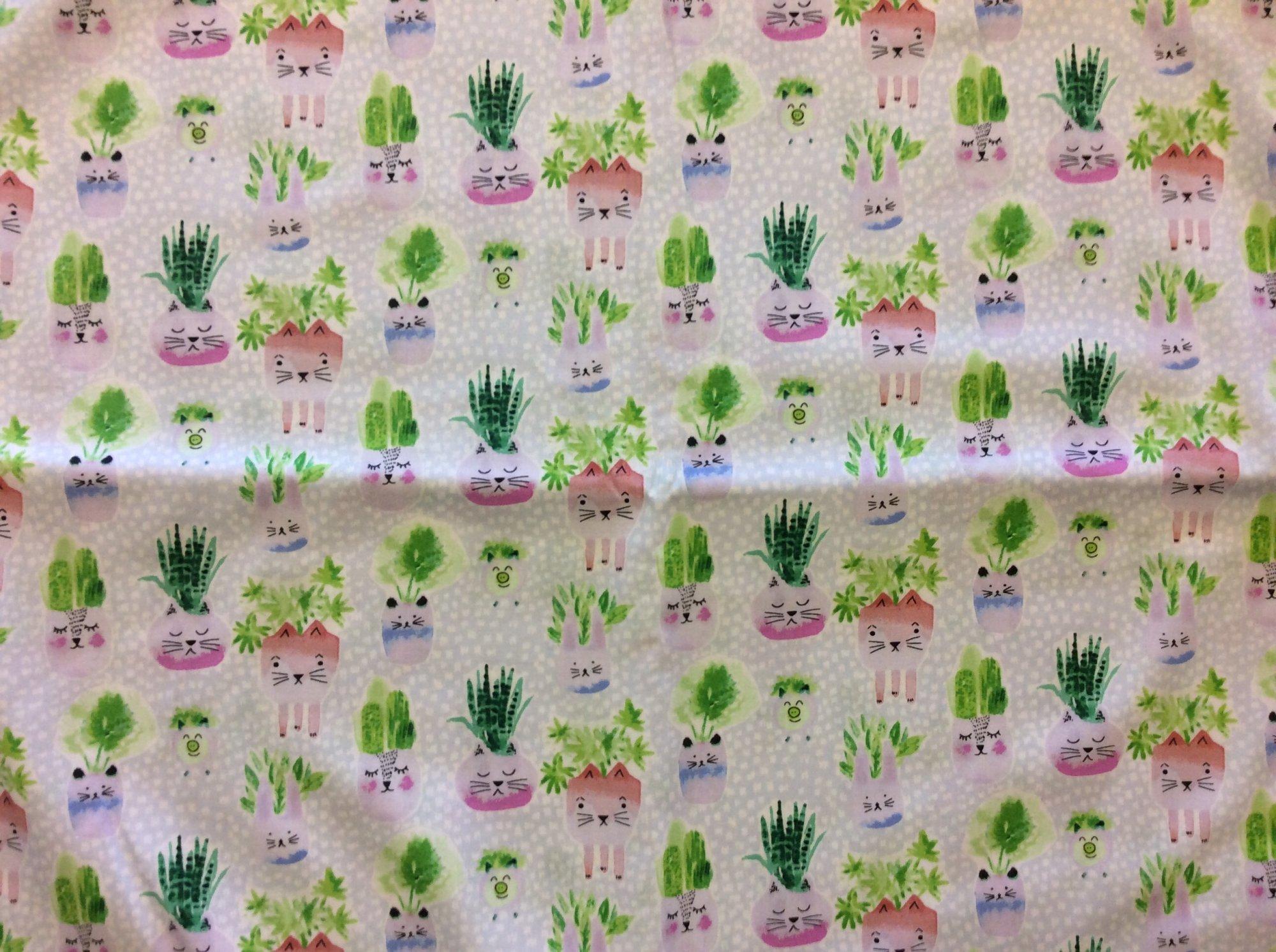 Dear Stella Cat Planter Succulent Plant Garden Planting Kitty Cute Novelty Cotton Quilting Fabric  HOP003