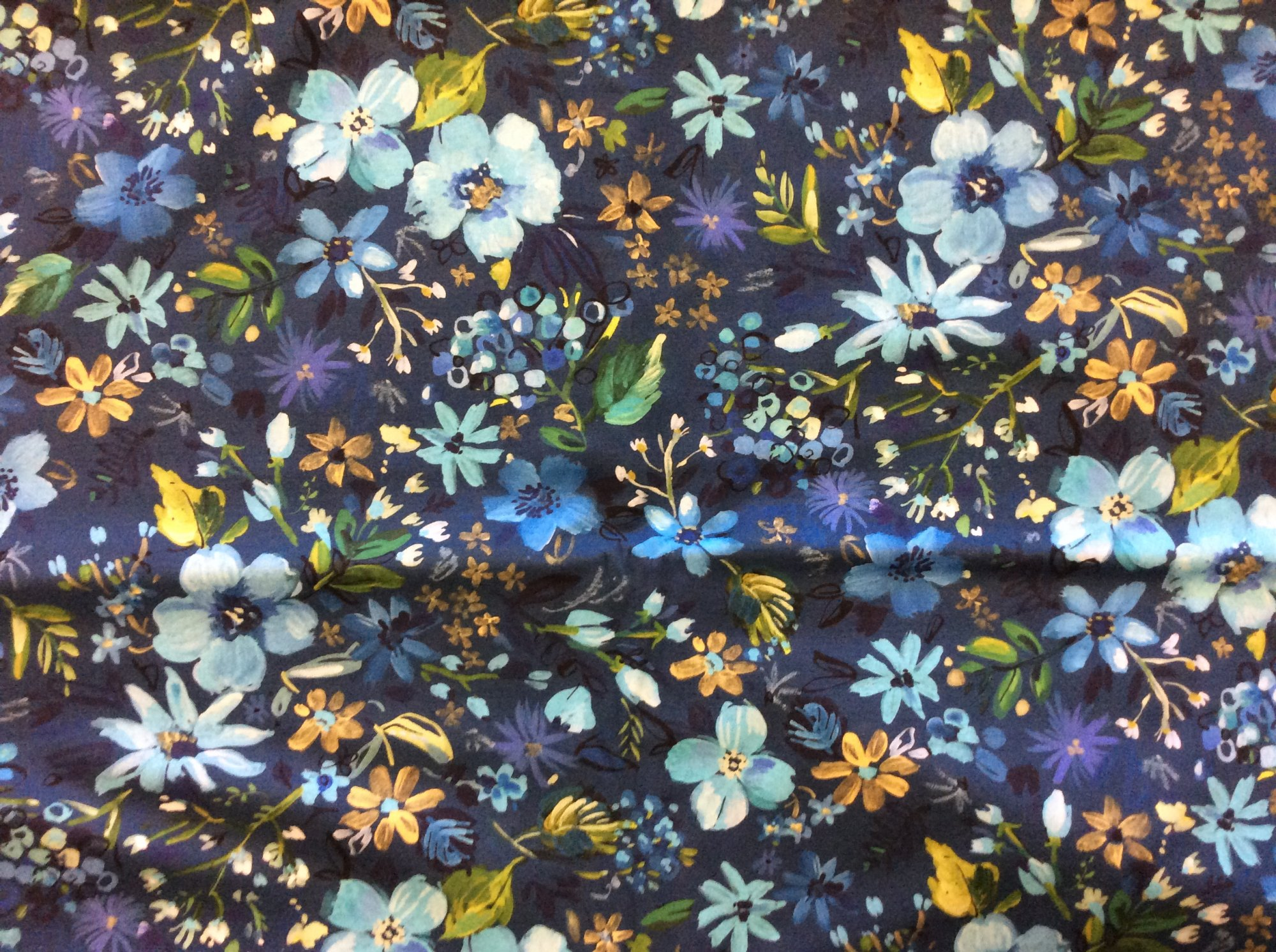Dear Stella August Wren Blue Floral Graphic Green and Gold Tones Modern Apparel Cotton Quilting Fabric  HOP004