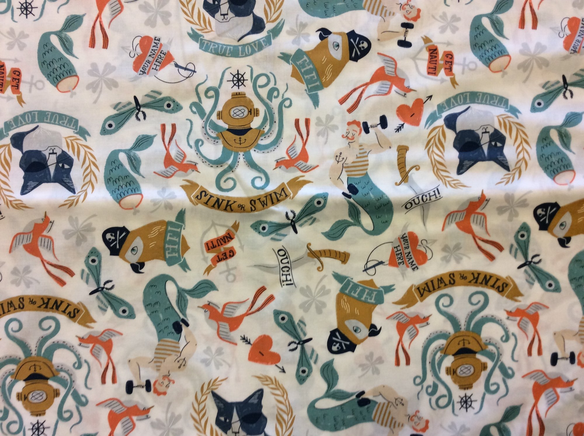 Dear Stella Sink or Swim Pin Up Tattoo Merman Mermaid Anchor Diving Bell Novelty Cotton Quilting Fabric  HOP005