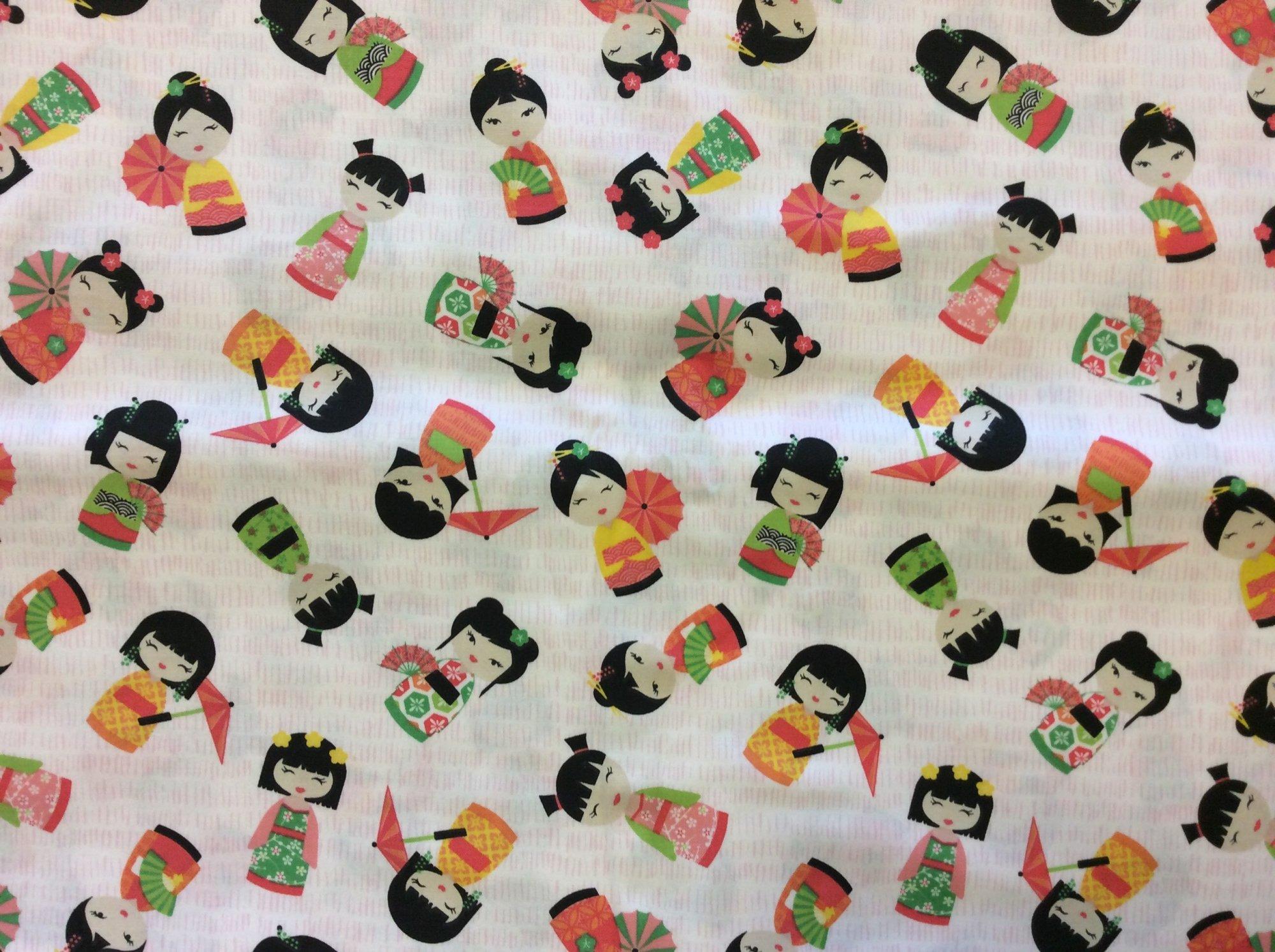 Cute Kokeshi Modern Japan Doll Novelty Cotton Quilting Fabric HOP007