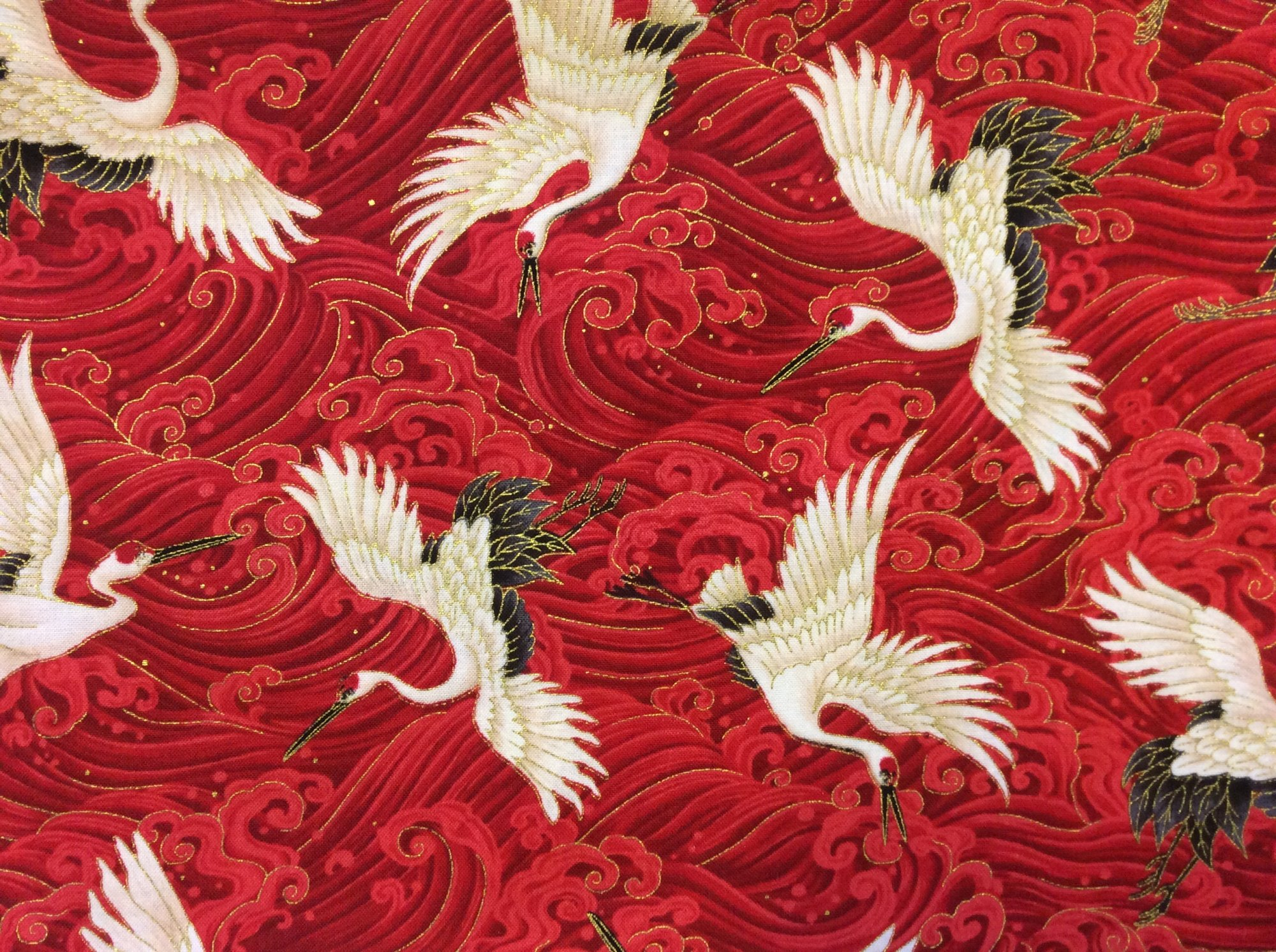Red Wave Metallic Crane Asian Inspired Kimono Printed Novelty Cotton Quilting Fabric HOP008