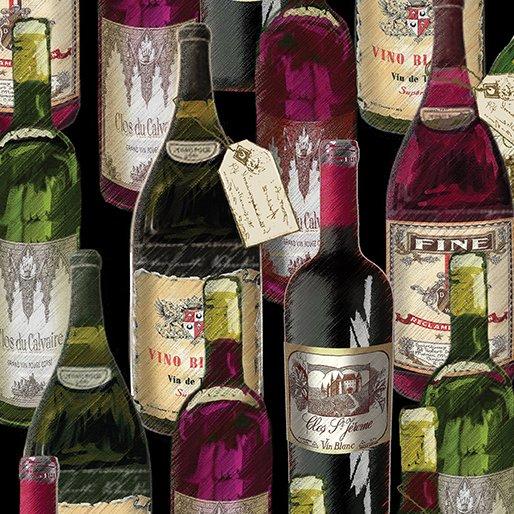 Wine Bottles Cabernet Cotton Quilt Fabric BE27