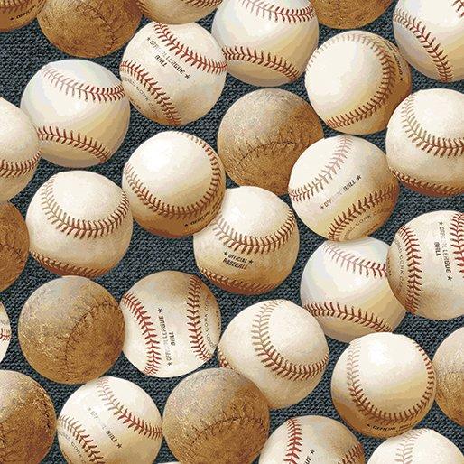 Baseballs Summer Sports Blue Background Cotton Quilt Fabric BE25