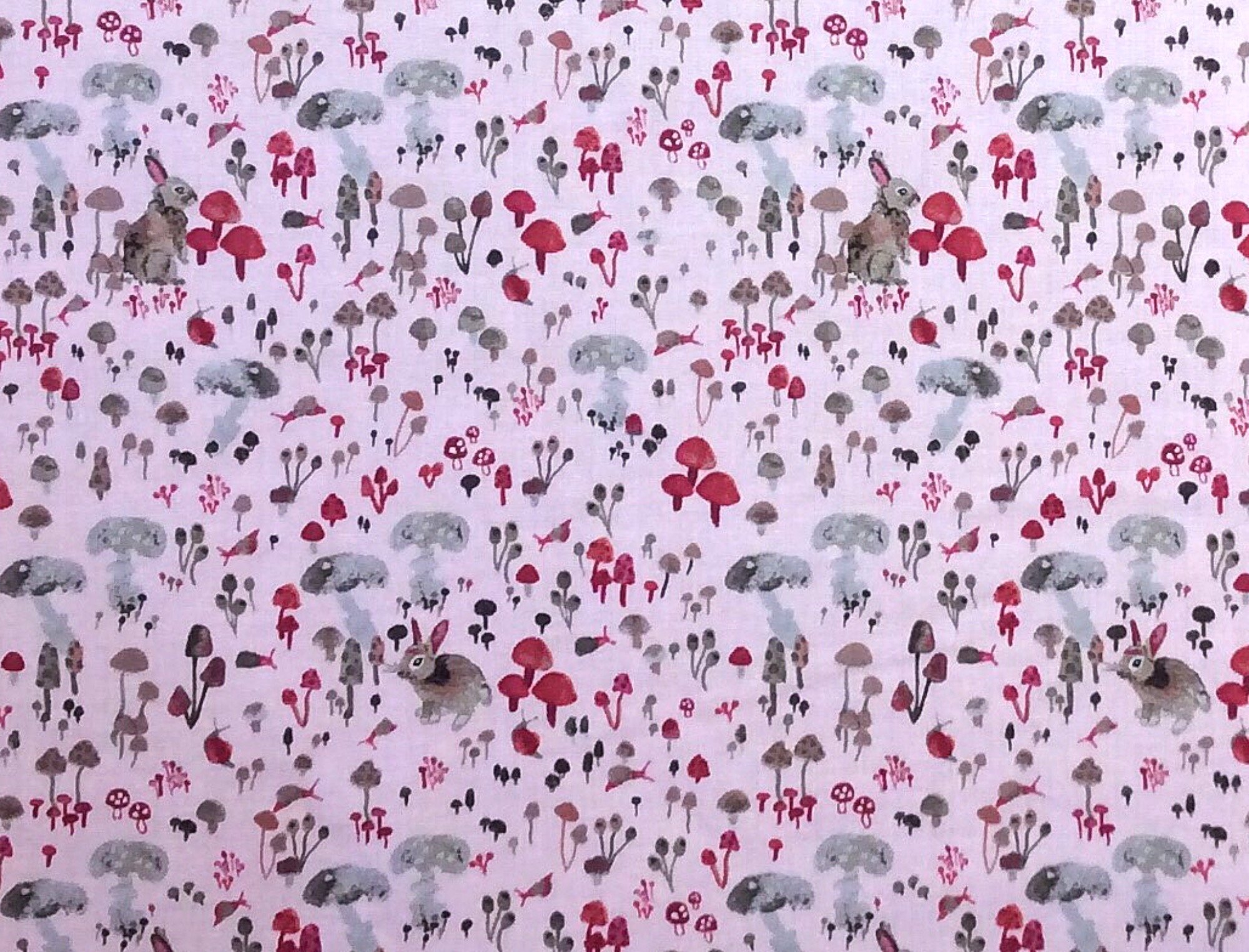 Enchanted Forest Bunny Rabbit Forest Mushroom Floral Betsy Olmsted Watercolor Illustration Cotton Quilt Fabric WI117