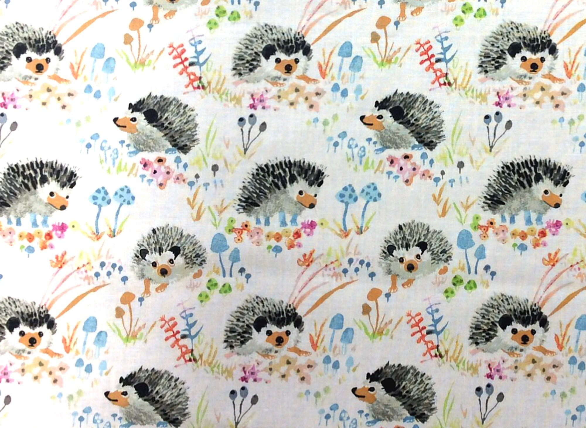 Enchanted Forest Hedgehog Forest Mushroom Floral Betsy Olmsted Watercolor Illustration Cotton Quilt Fabric WI113