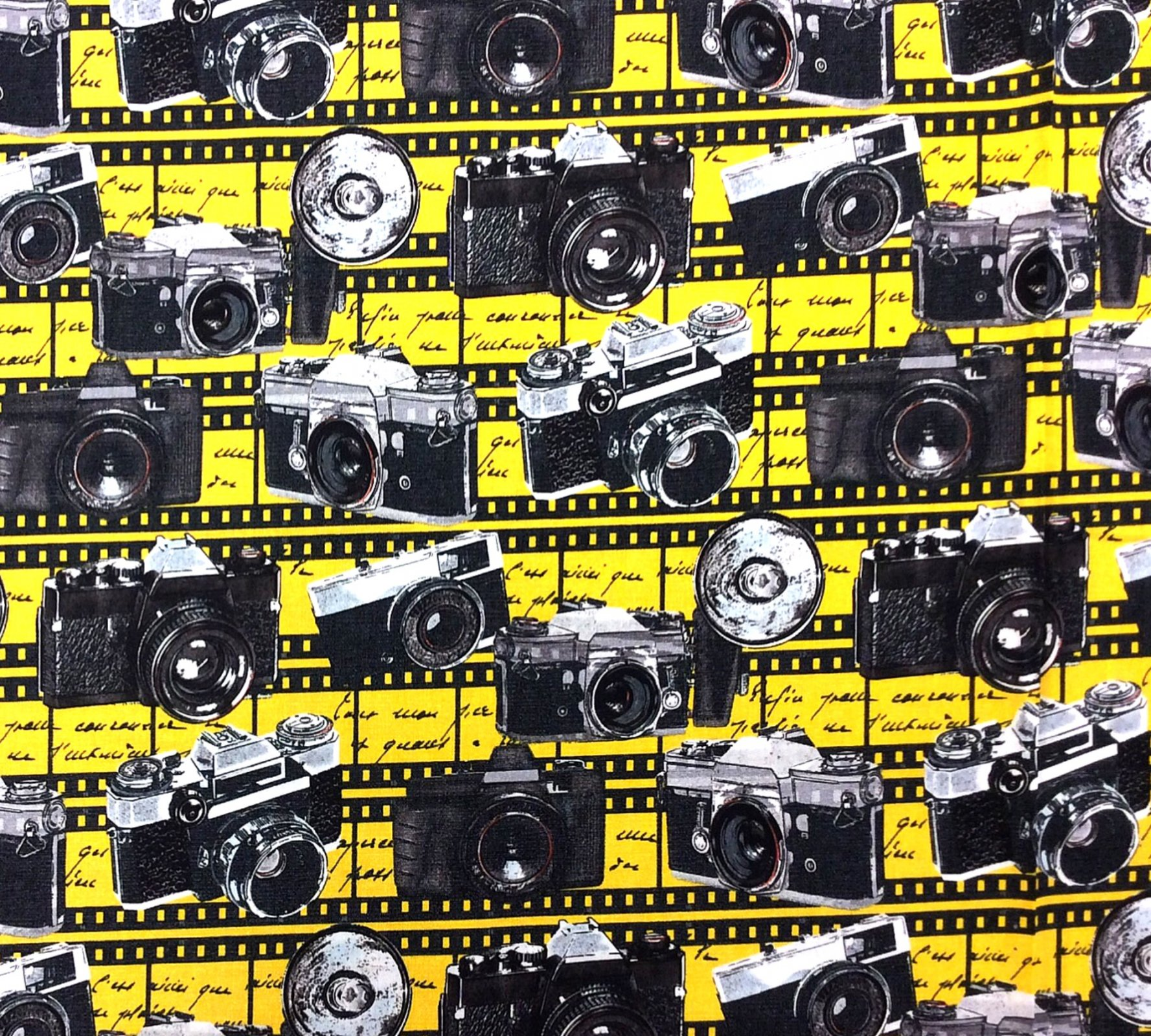 Photography Cameras Film Paparazi Camera Cotton Quilt Fabric BE31