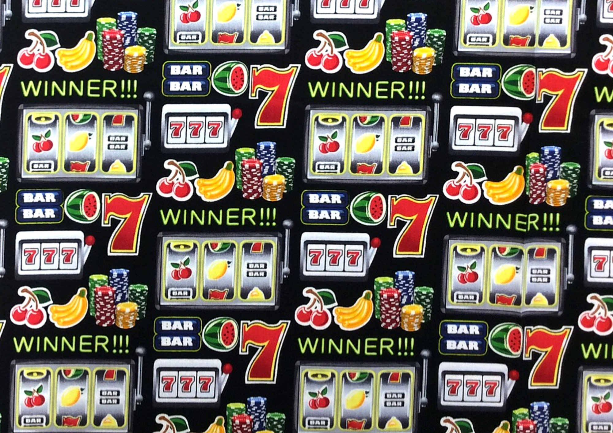 Casino Slot Machine Gambling Games of Chance Jackpot Cotton Quilt Fabric BE37