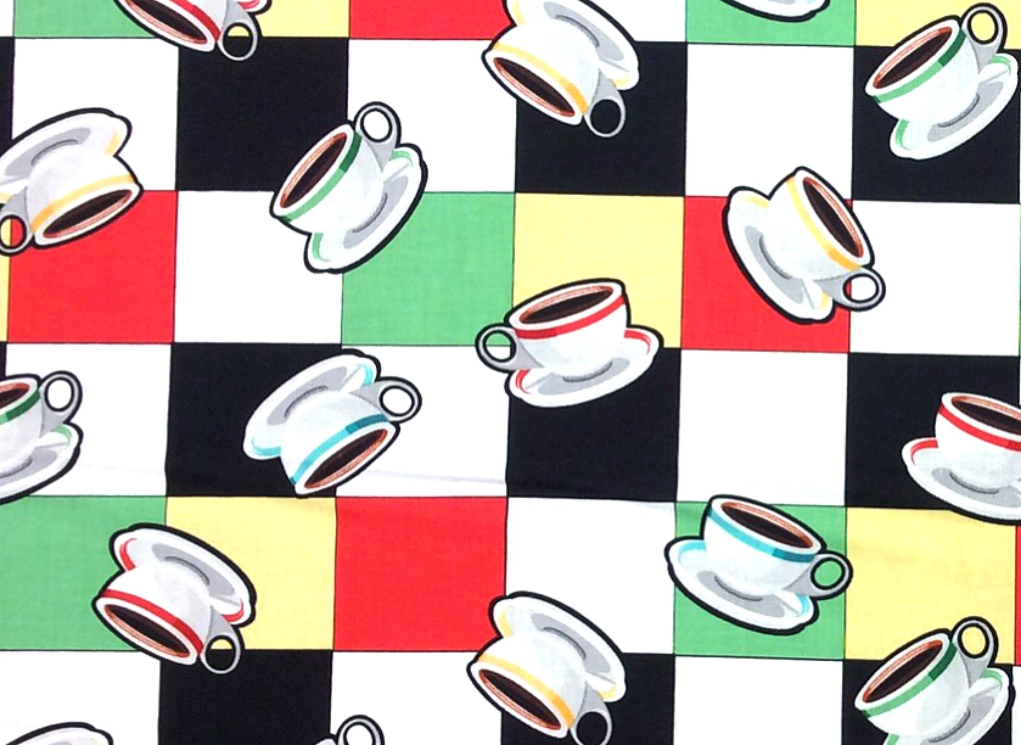 Diner Coffee Cups Retro Lunch Counter Fifties Style Restaurant Cotton Quilt Fabric BE35
